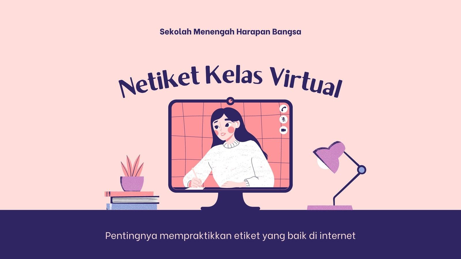 Etiket Presentasi Pendidikan Kelas Online Ilustrasi Orang Berwarna Merah Muda dan Ungu