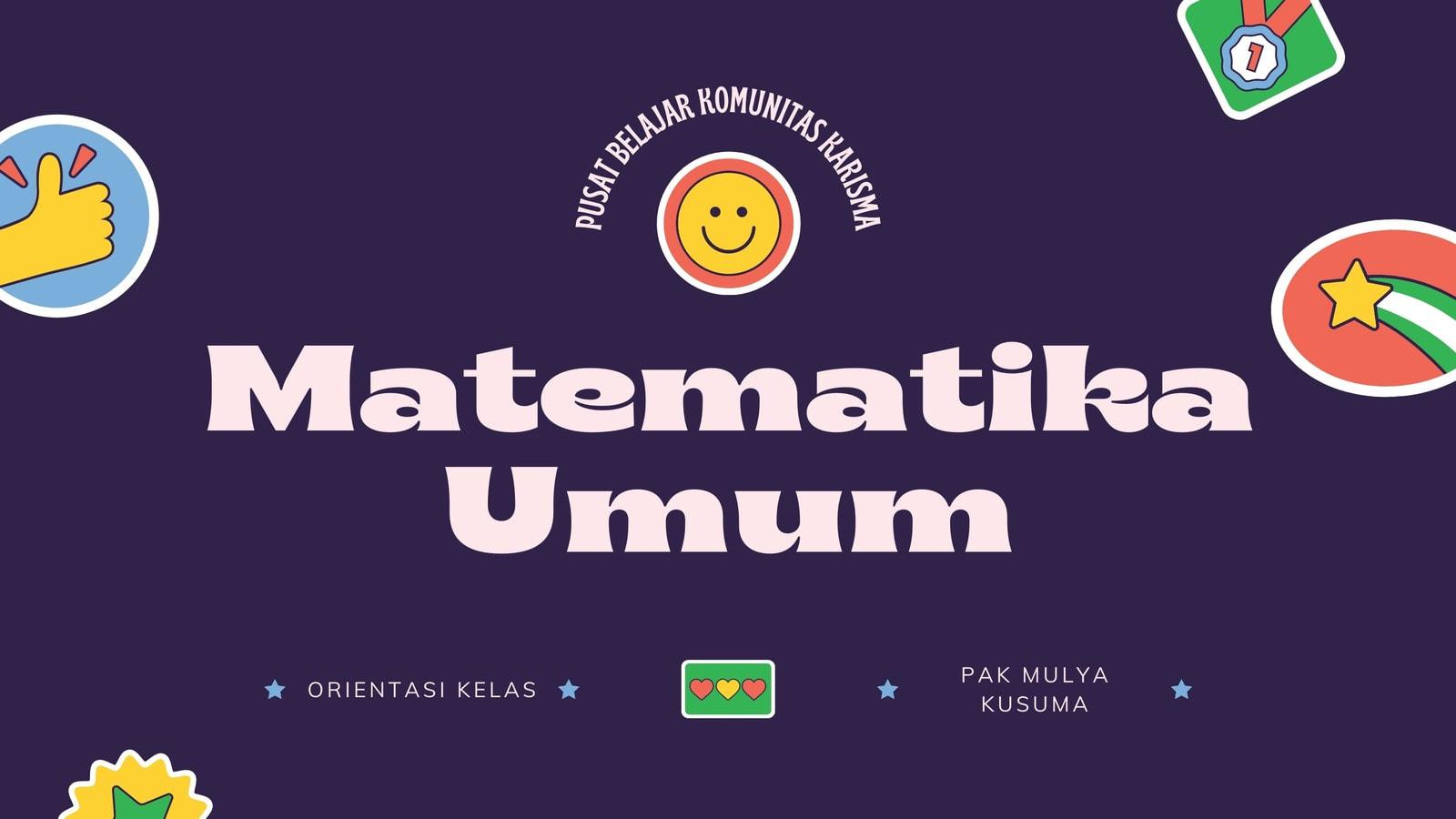 Presentasi Pendidikan Orientasi Kelas Matematika Umum Retro Modern Warna-warni