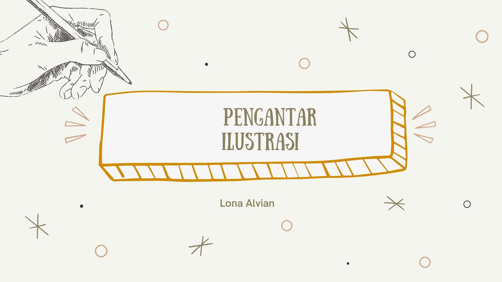 Presentasi Seni Visual Ilustrasi Menggambar Digambar Tangan Emas dan Hijau