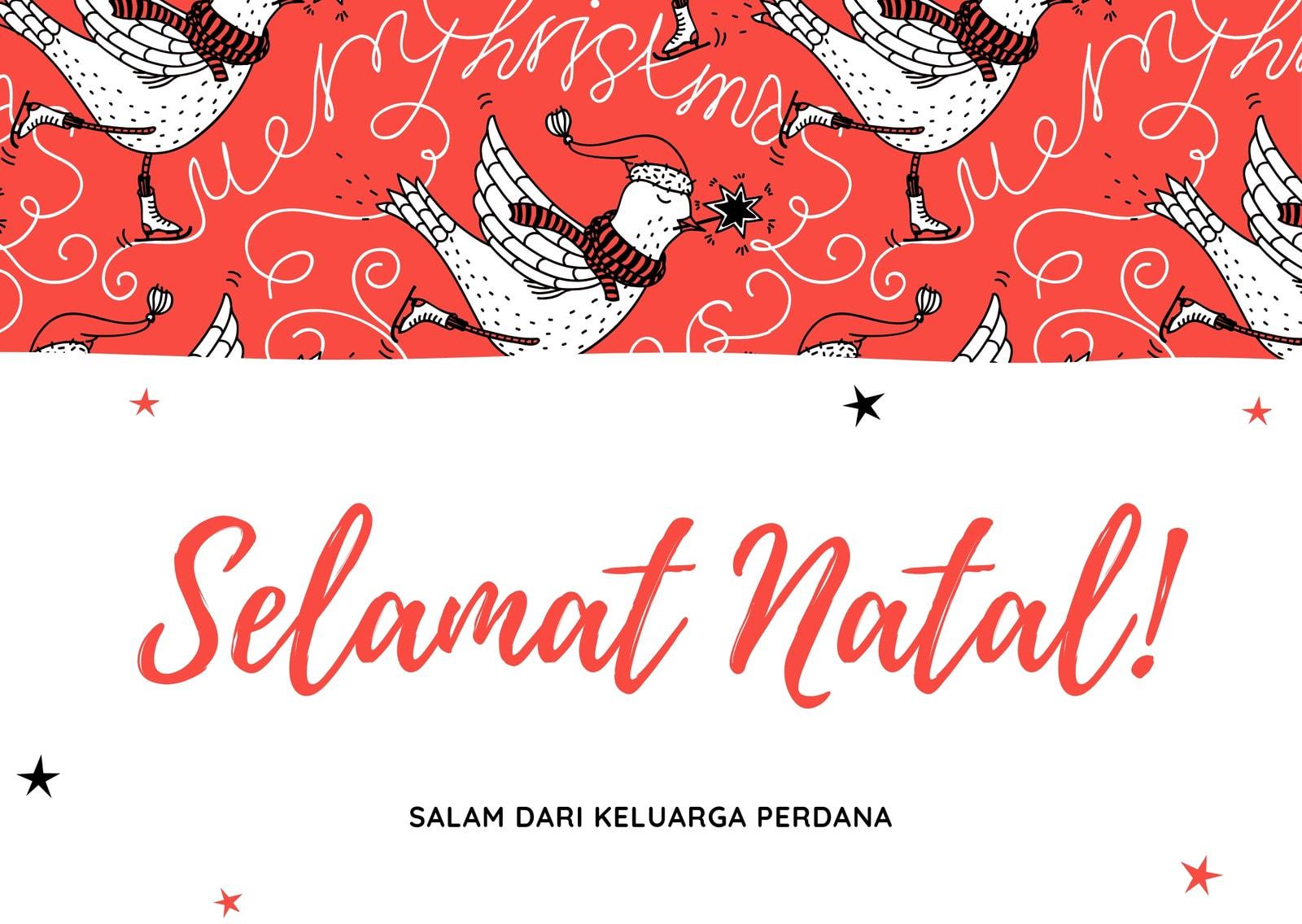 Merah Burung Natal Mulus Pola Kartu Seni Natal