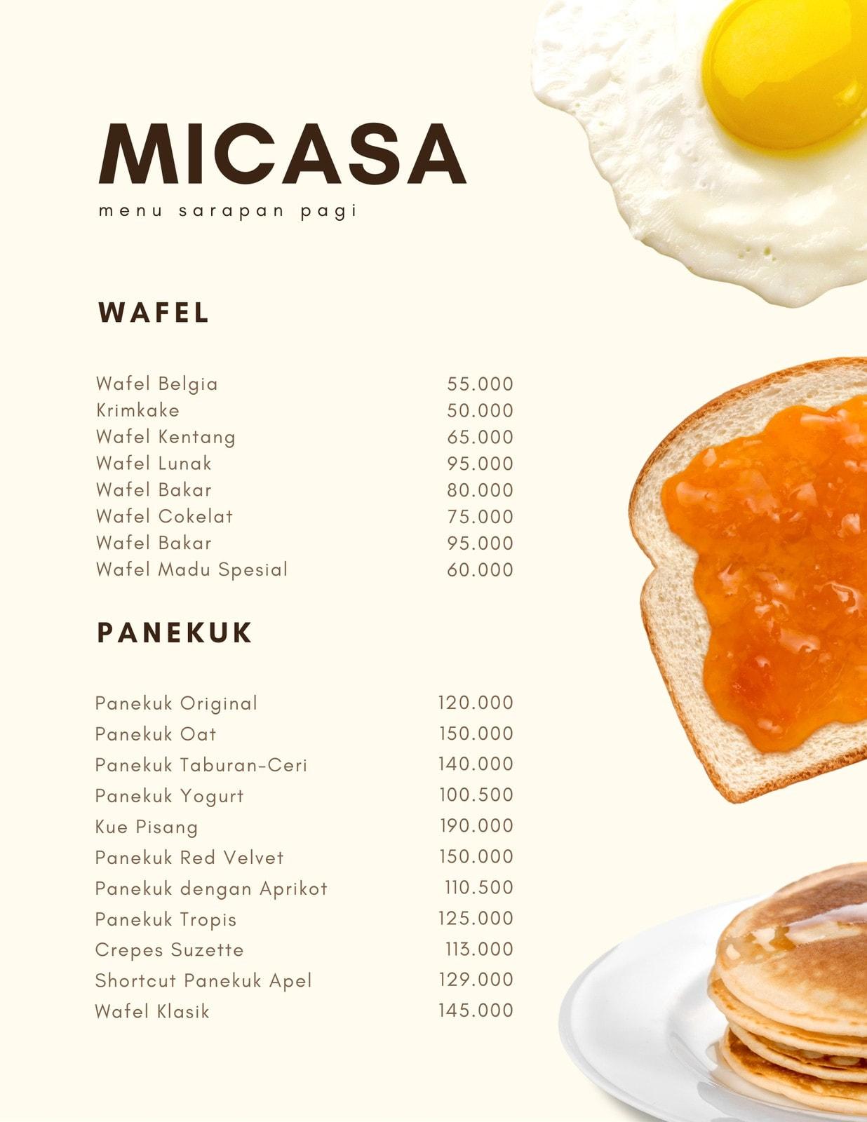 Cerah Krim Telur, Roti Lapis dan Panekuk Sarapan Menu