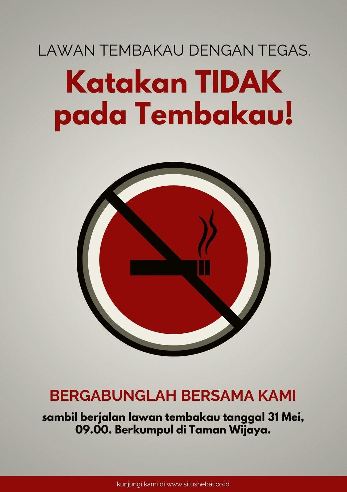 Abu-Abu Merah Simbol Hari Tanpa Tembakau Sedunia Poster