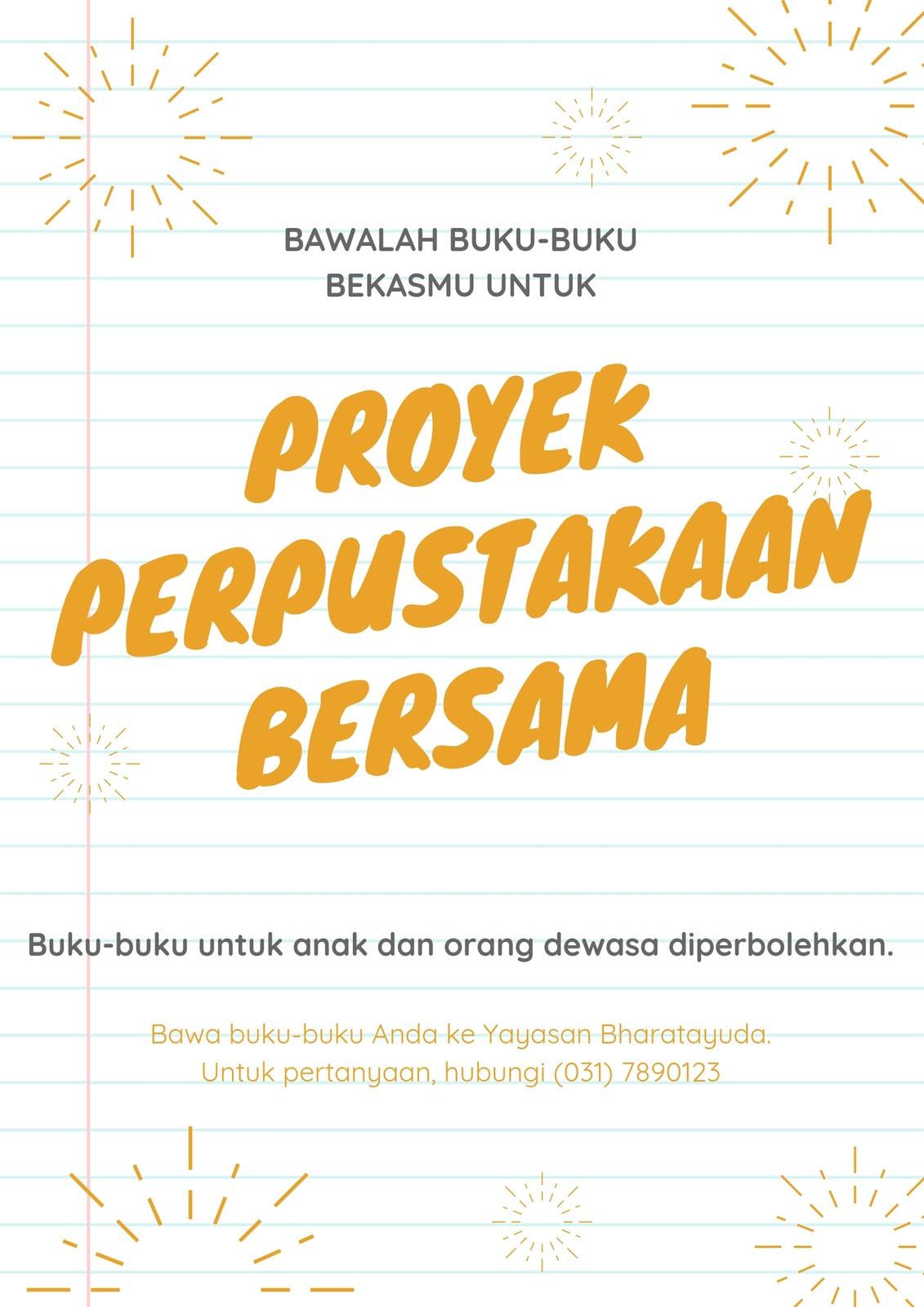 Oranye Putih Ilustrasi Sinar Donasi Buku Poster