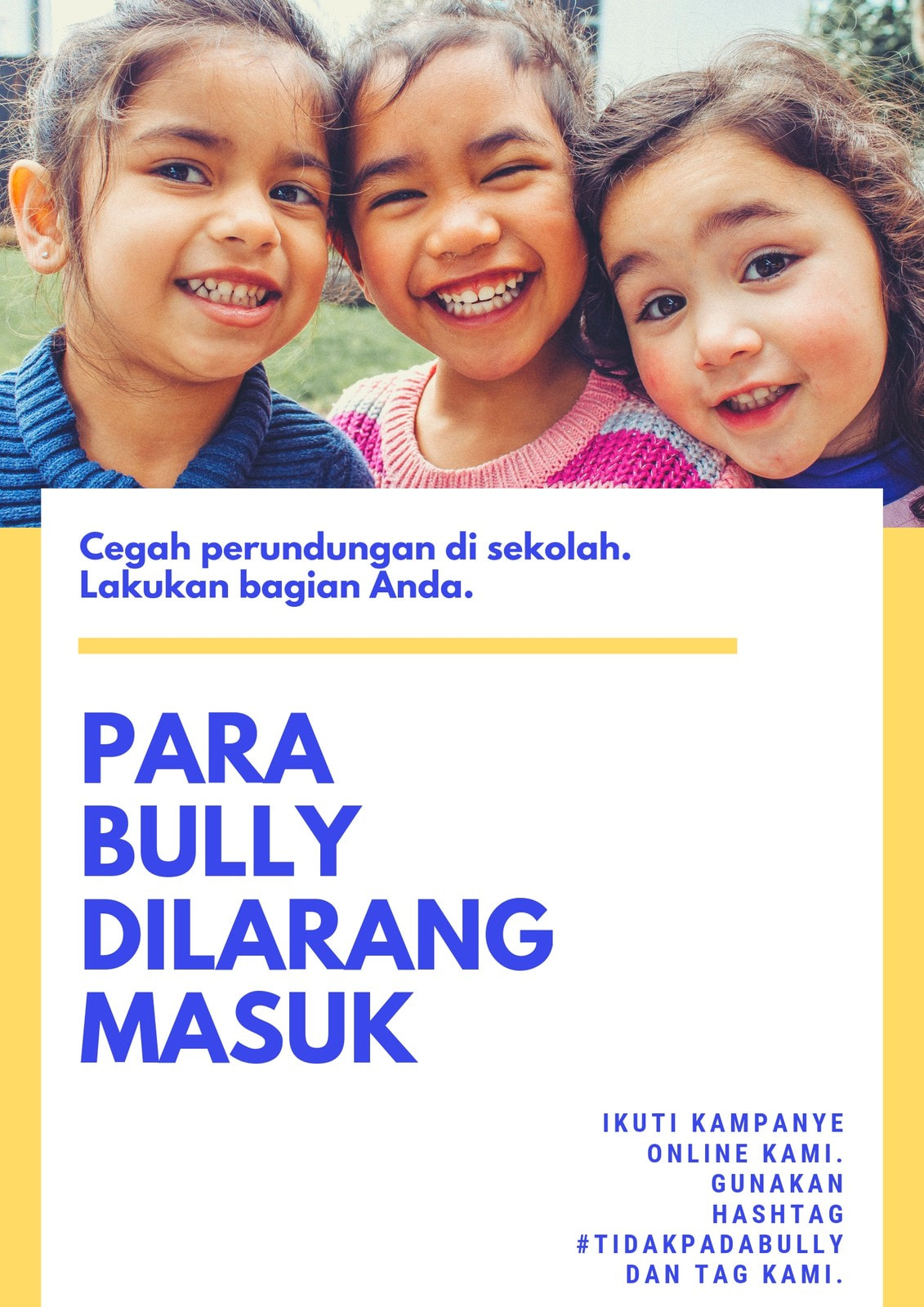 Kuning dan Biru Anak-anak Anti Perundungan Poster