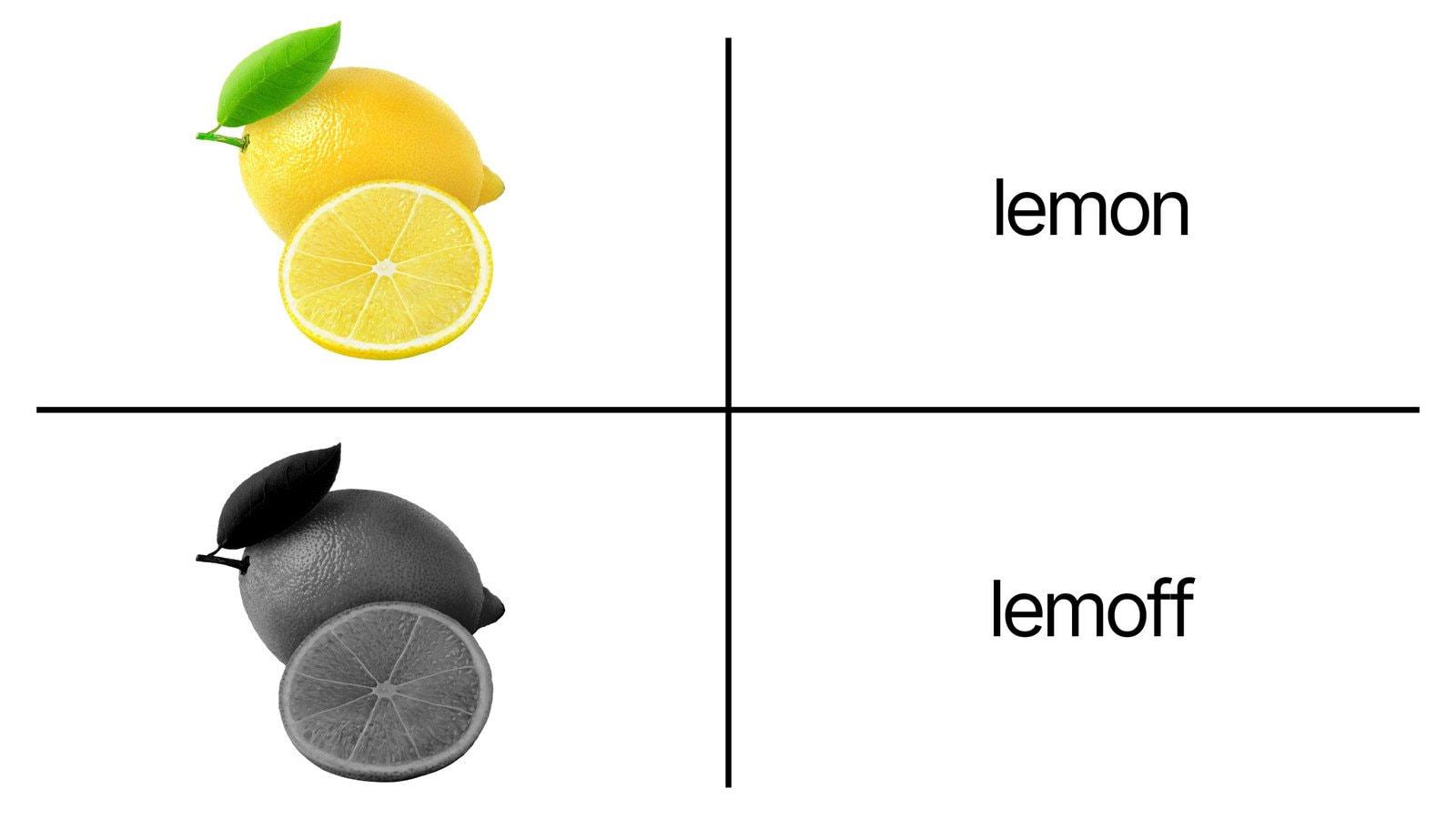 Meme Gambar Dua Teks Sederhana Putih dan Lemon