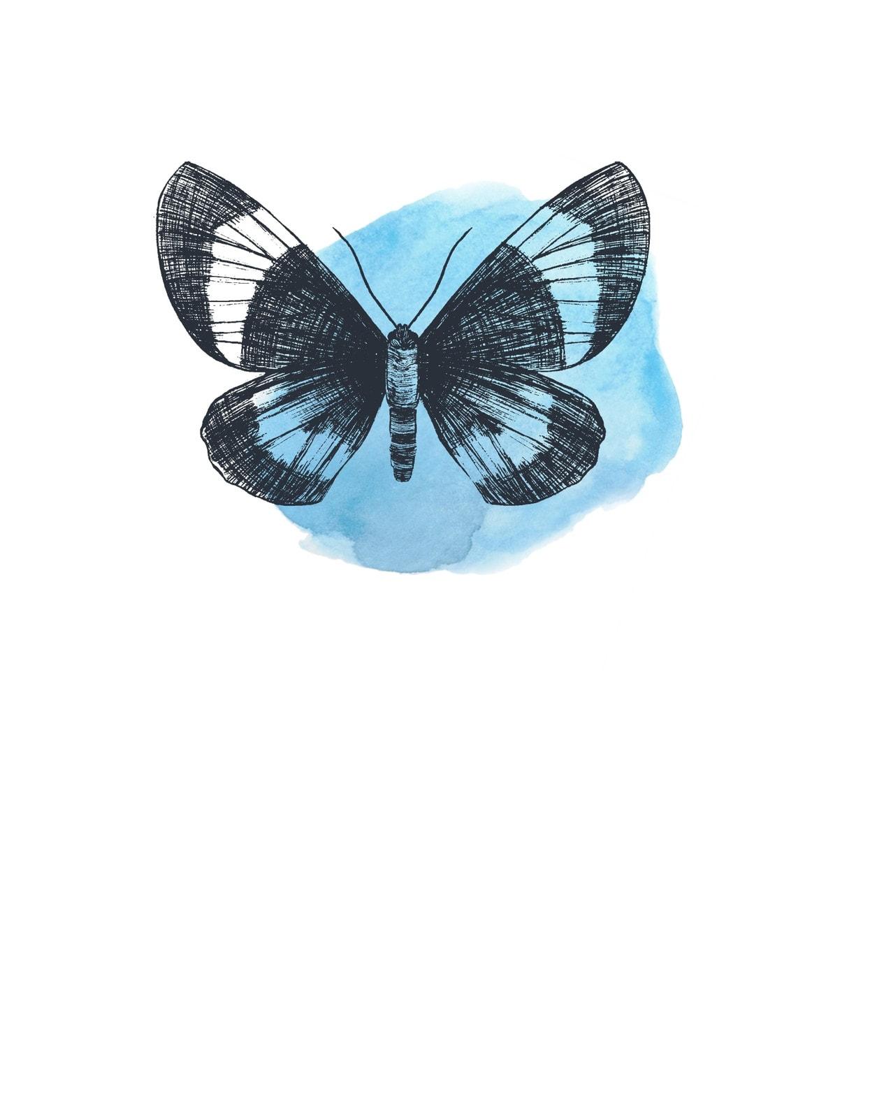 Azul y Rosa Mariposa Acuarela Familia Día de la Madre Camiseta