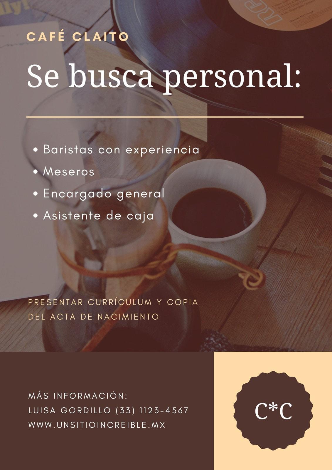 Marrón Durazno Foto de Café Se Busca Póster