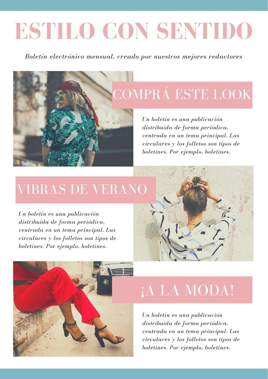 Rosa y Azul Claro Con Borde y Fotos Moda Boletín