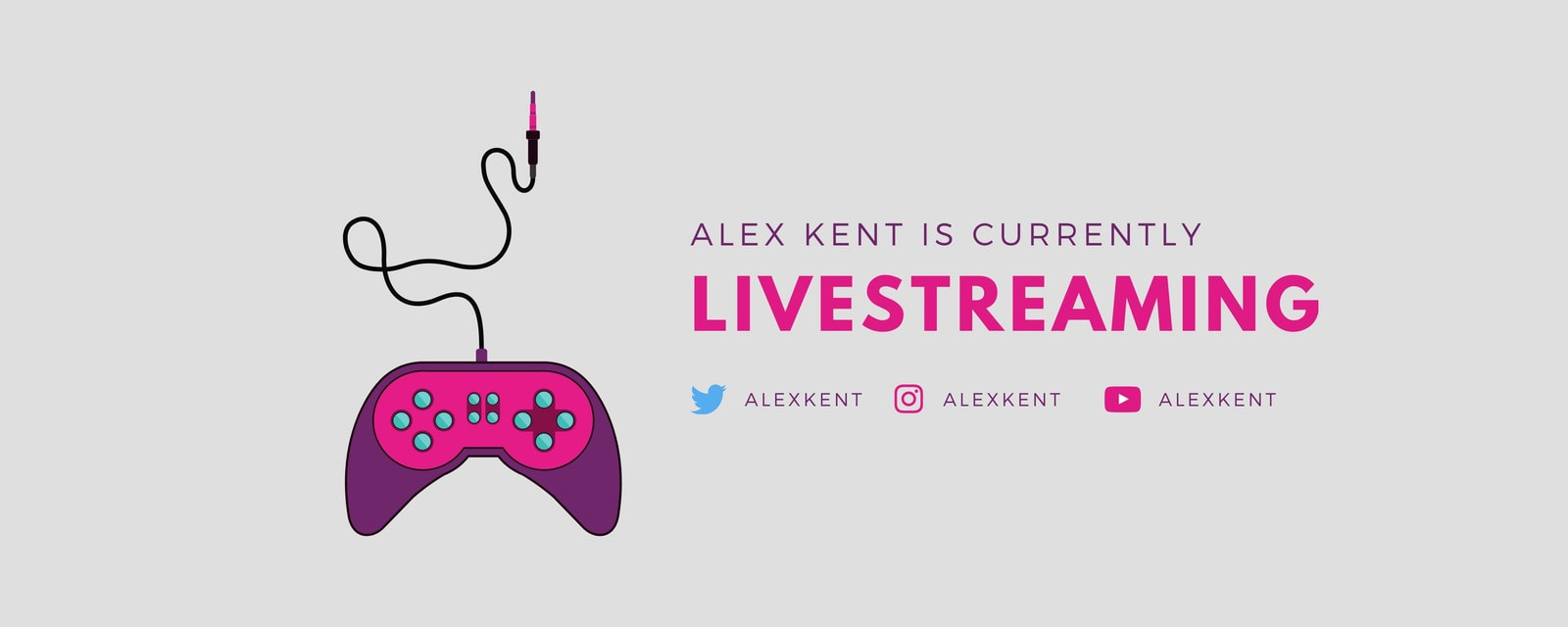 Pink and Purple Game Controller Twitch Banner