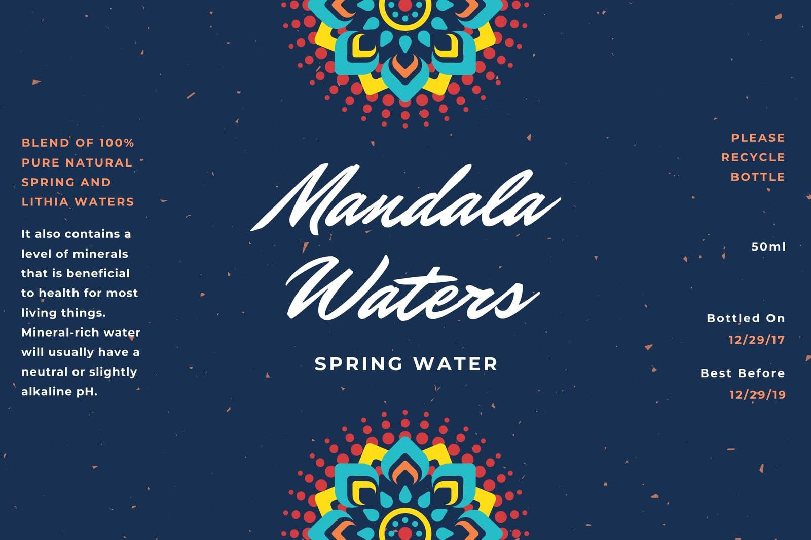 Navy Blue Mandala Water Bottle Label