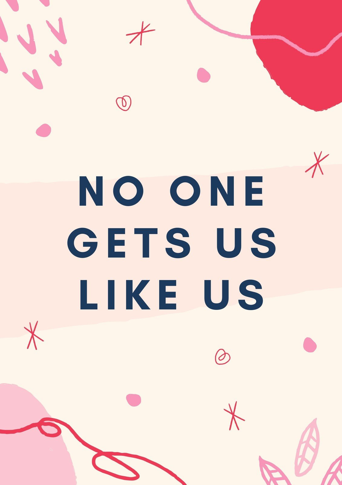 Pink and Red Illustrations Playful Friendship Quote Poster