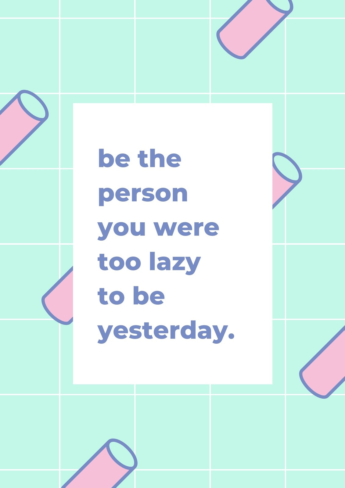 Green and Purple Grid Geometric Funny Quote Poster