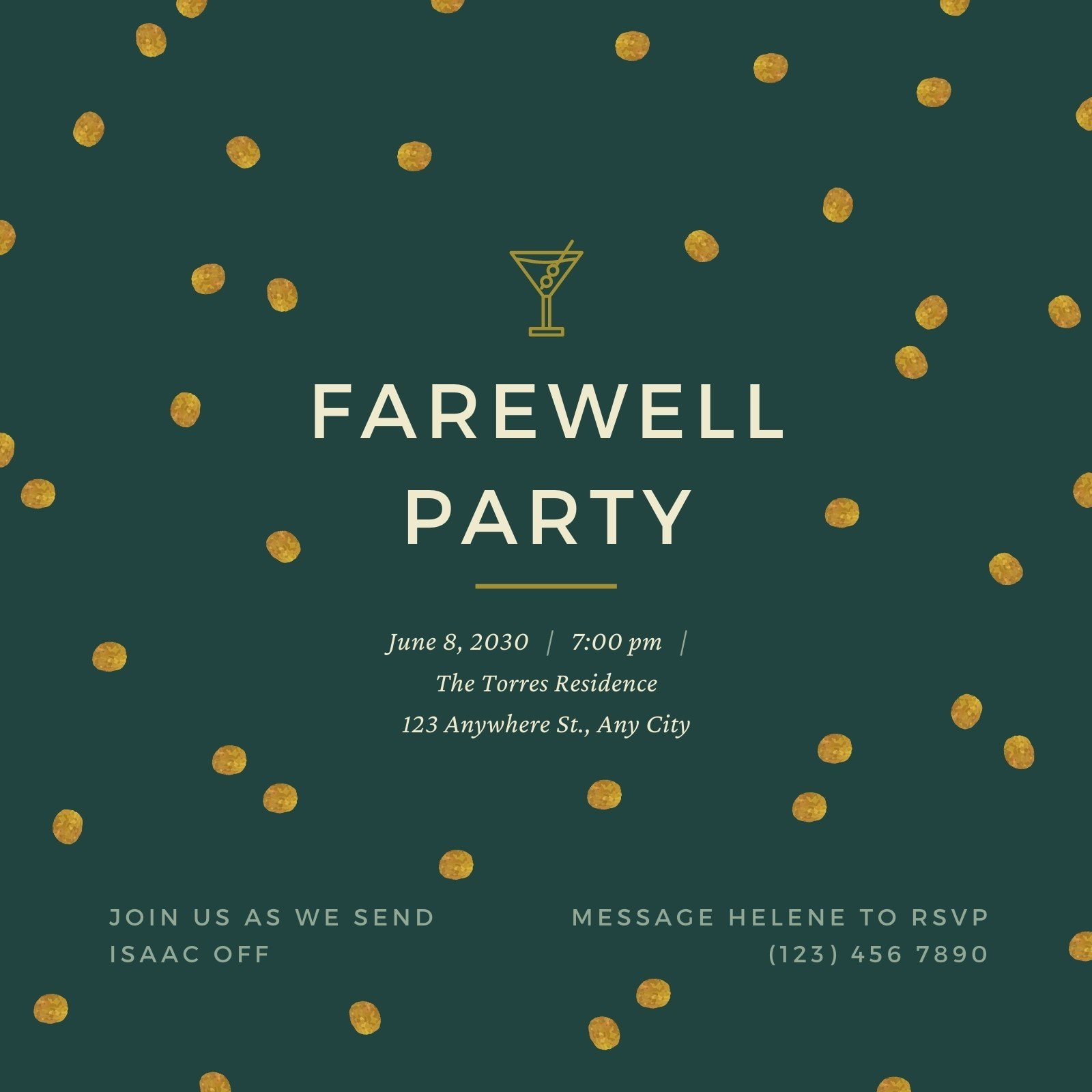 Green and Gold Dots Farewell Party Invitation