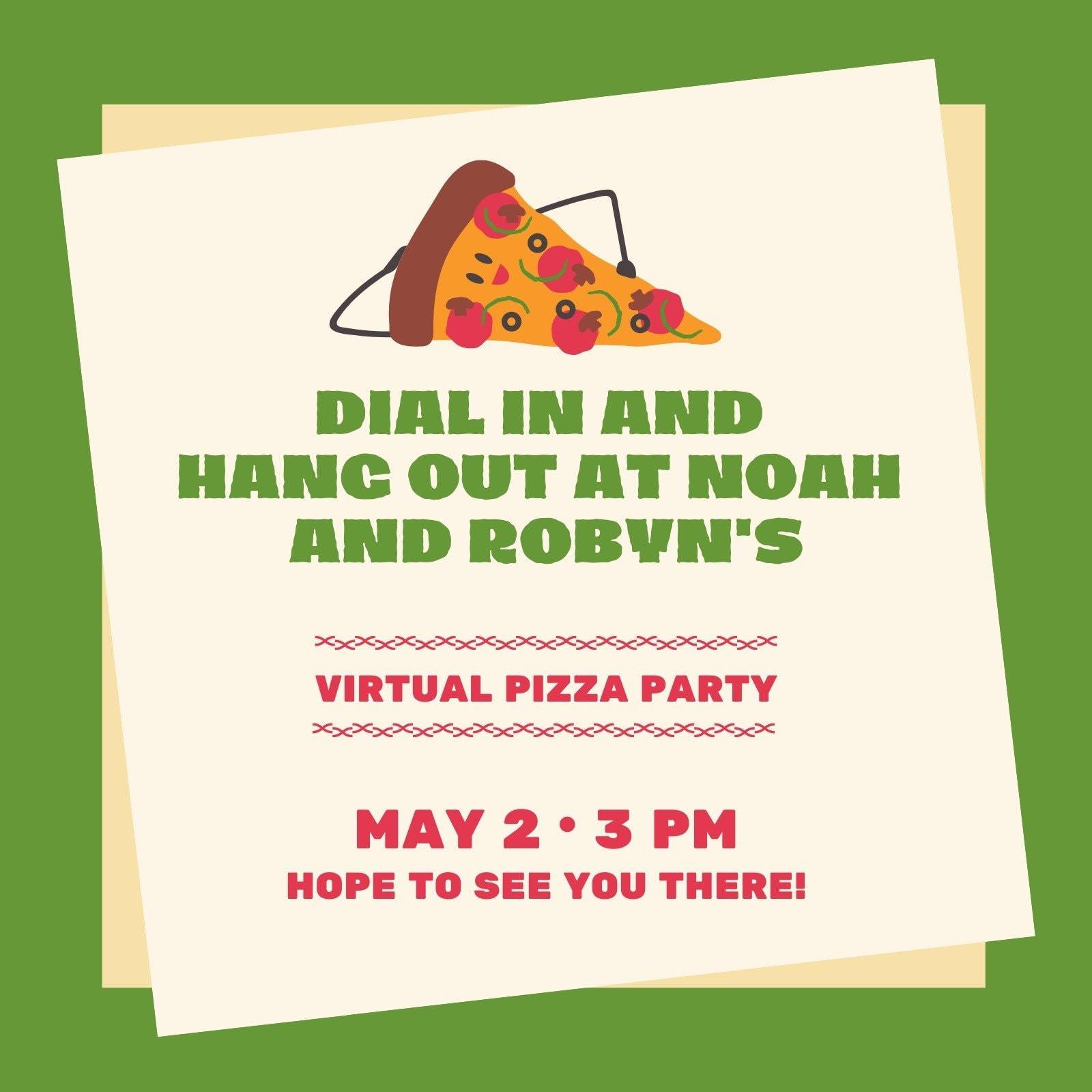Green Pizza Virtual Party Invitation