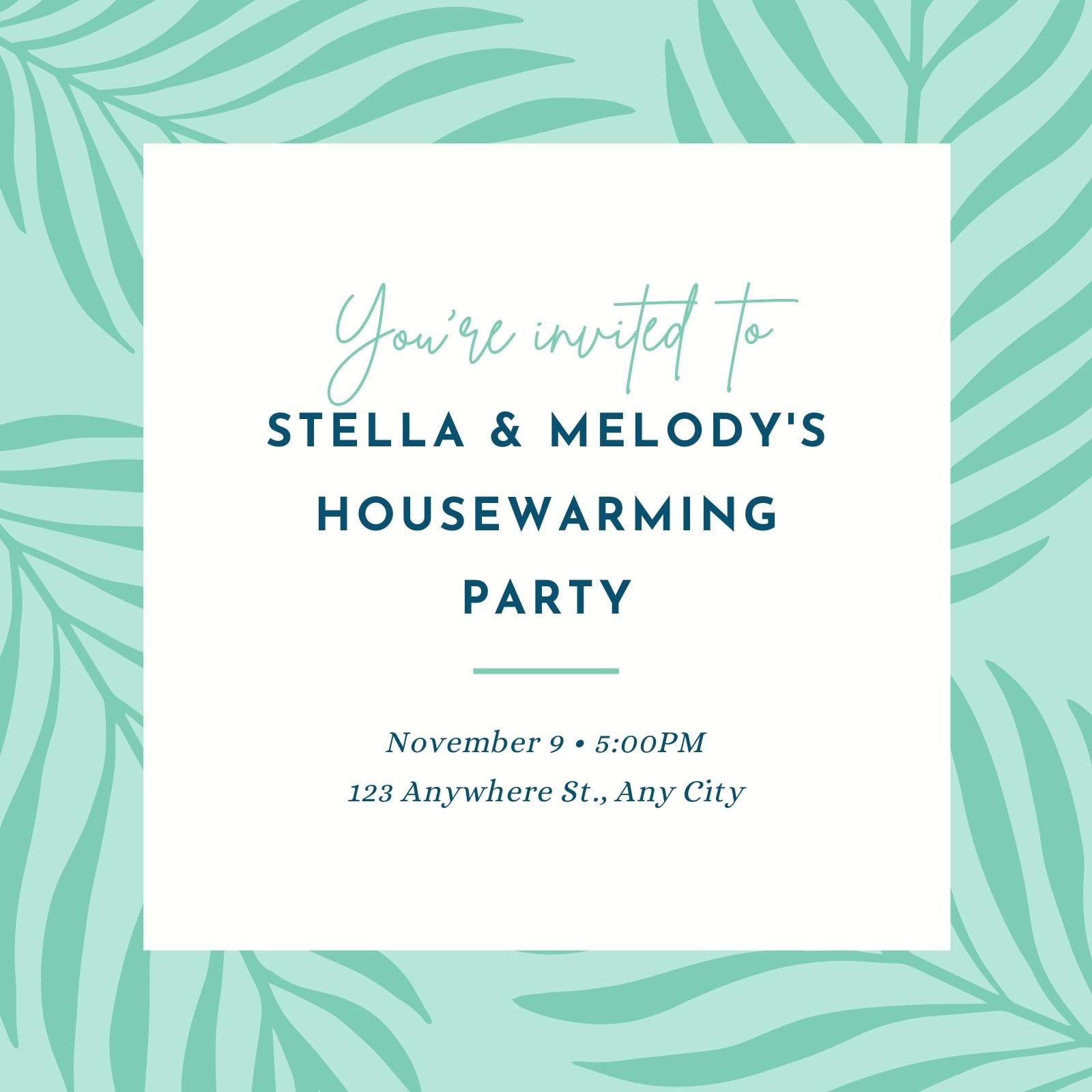 Green Leaves Illustration Housewarming Party Invitation