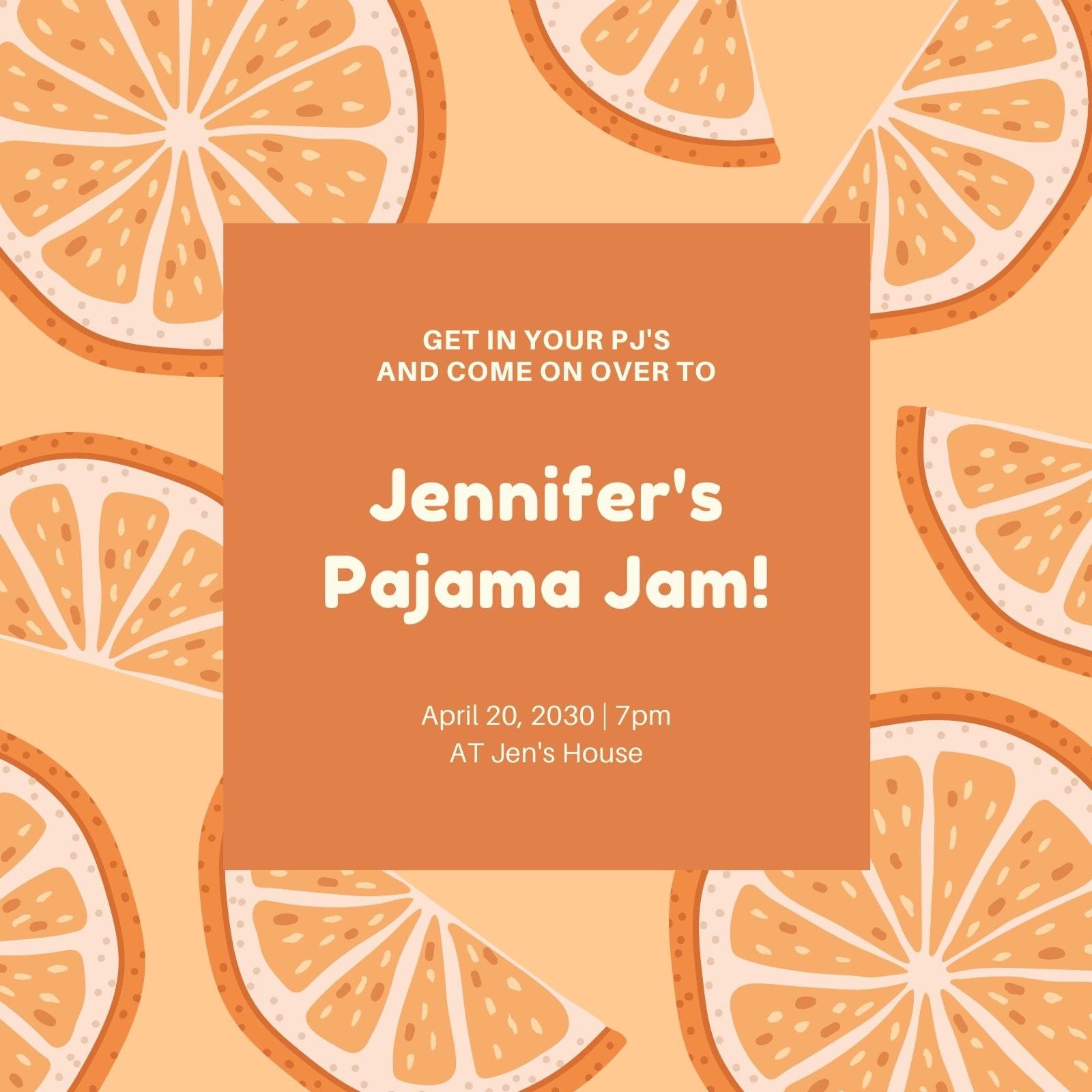 Orange Illustrated Pajama Party Invitation