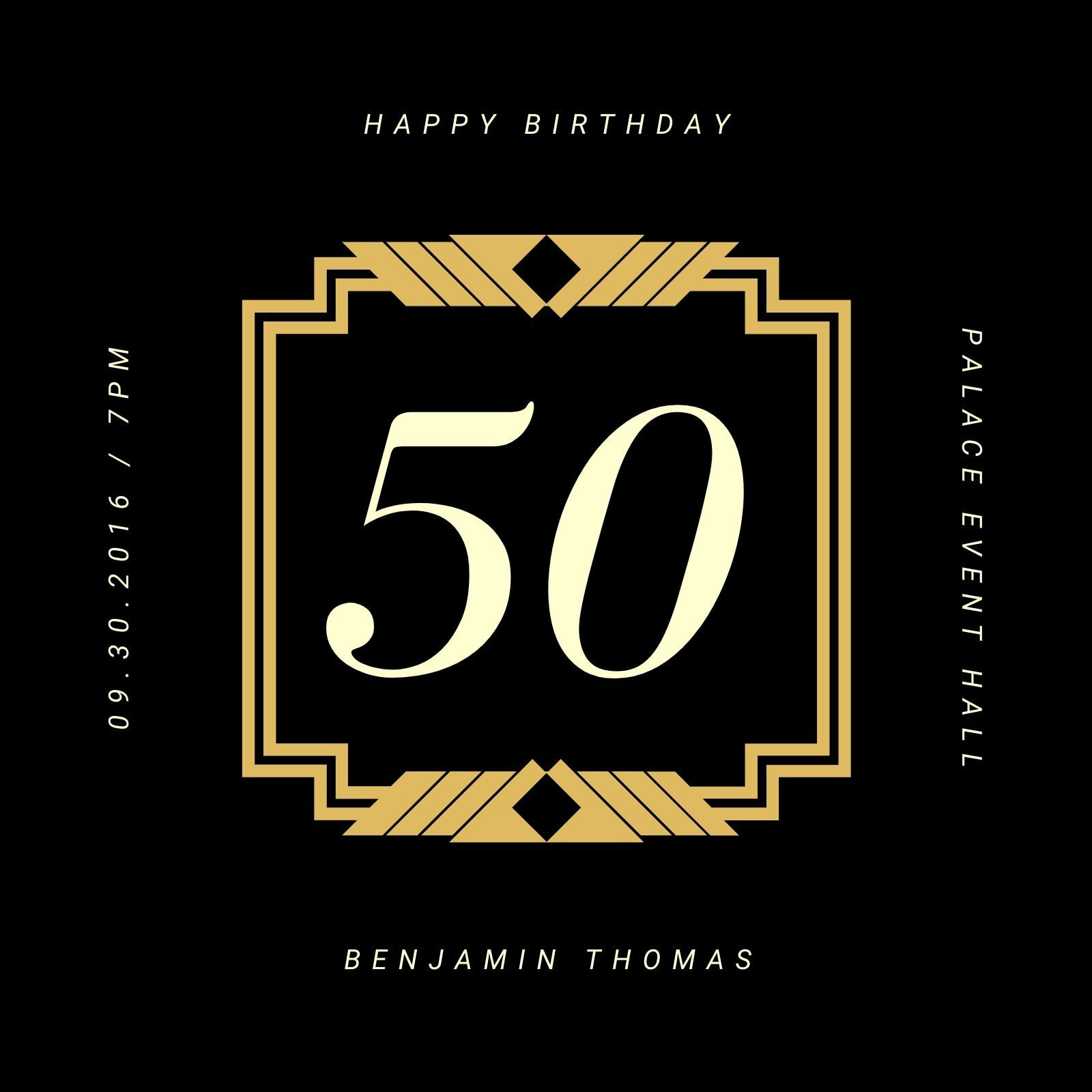 Gold and Black Elegant Bordered 50th Birthday Invitation