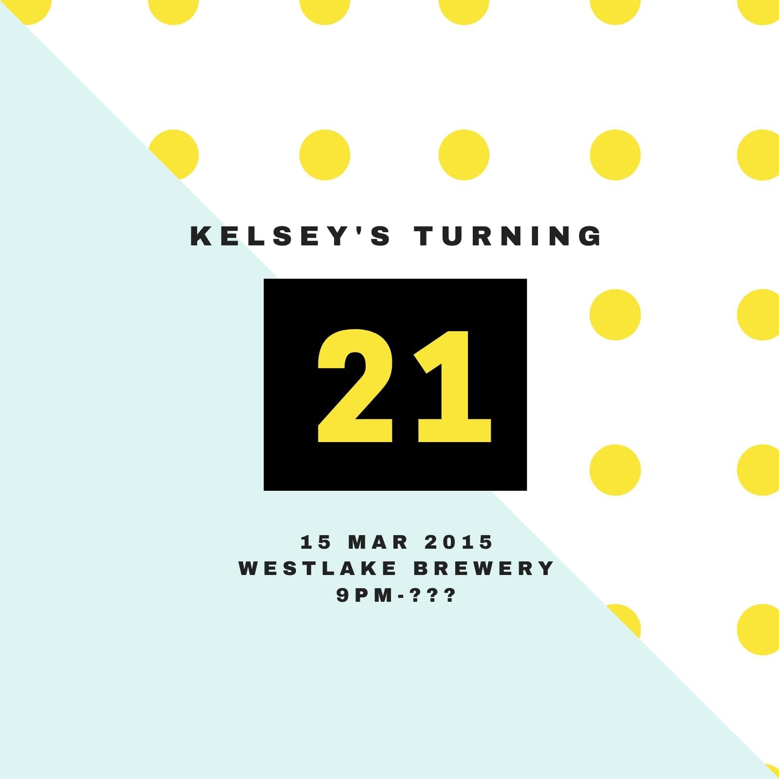 21st Birthday Polka Dots Invitation
