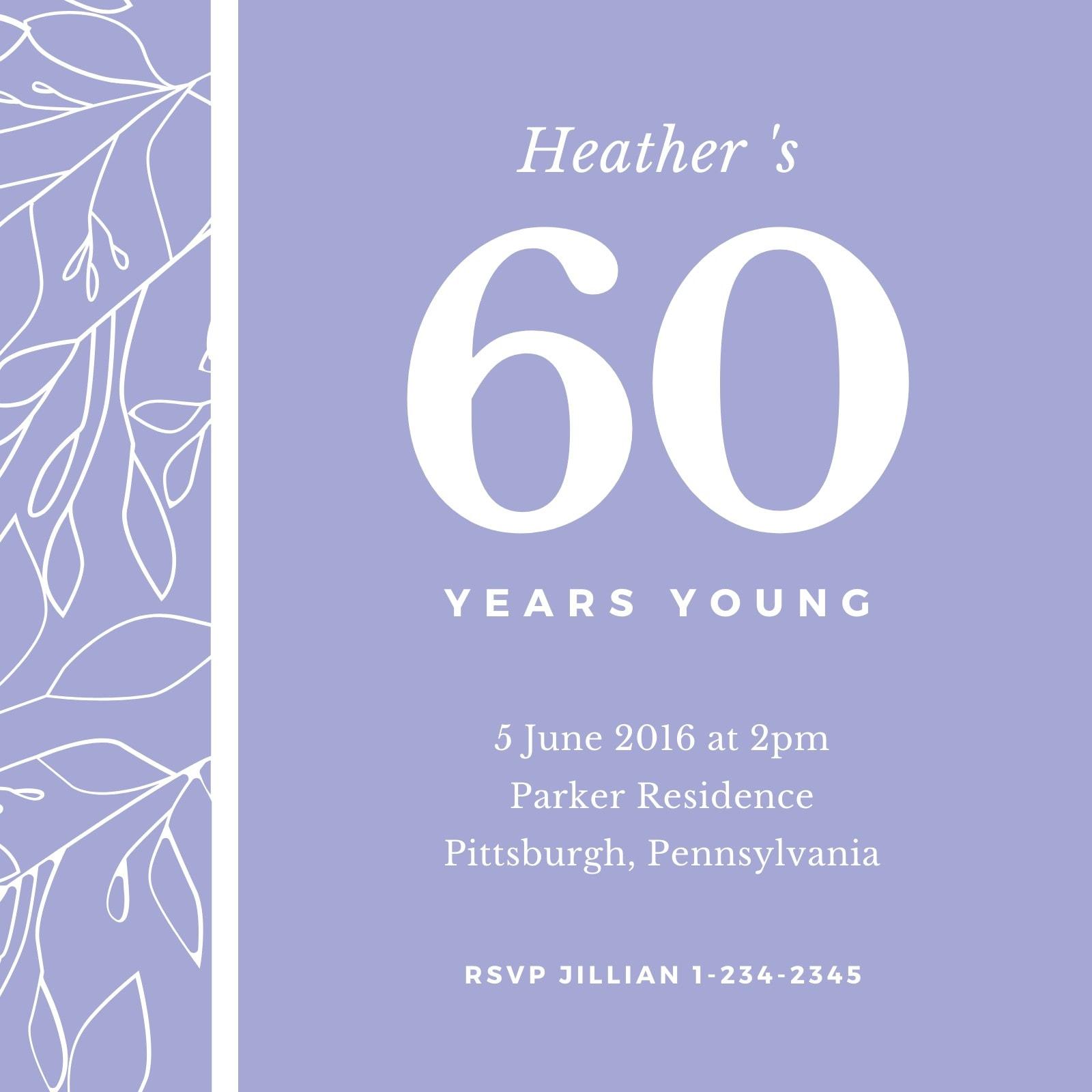 Pastel Illustrated Floral 60th Birthday Invitation