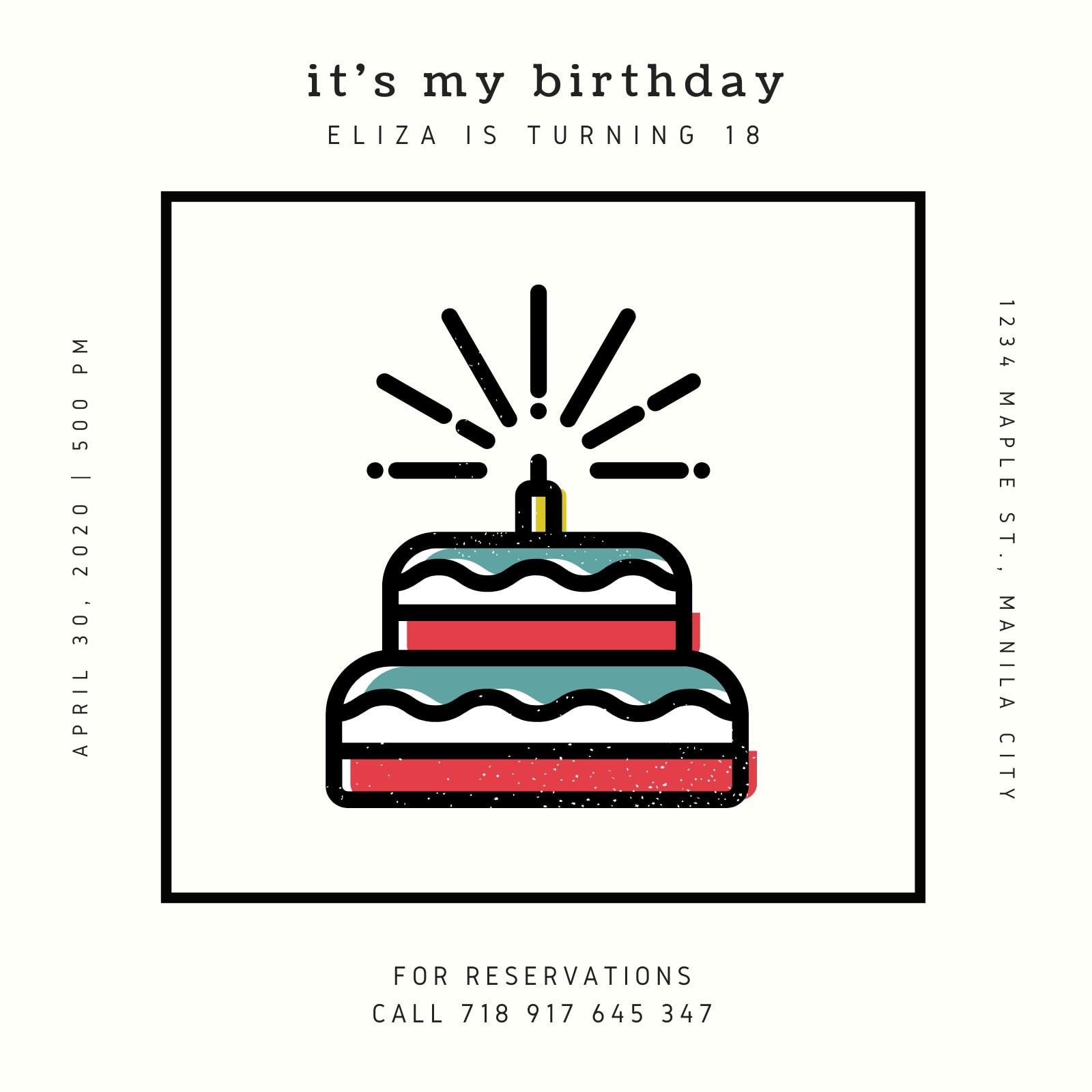Cream and Black Cake Bordered Birthday Invitation