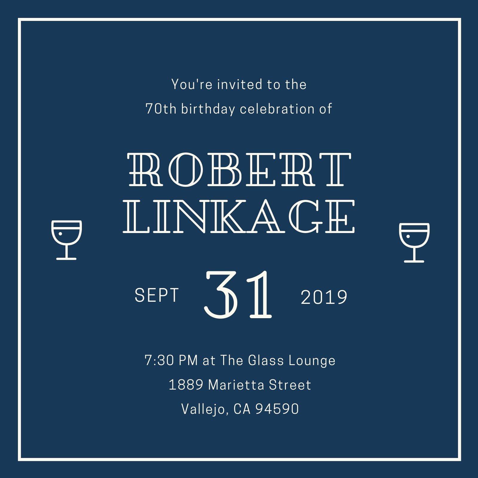 Dark Blue Elegant 70th Birthday Invitation
