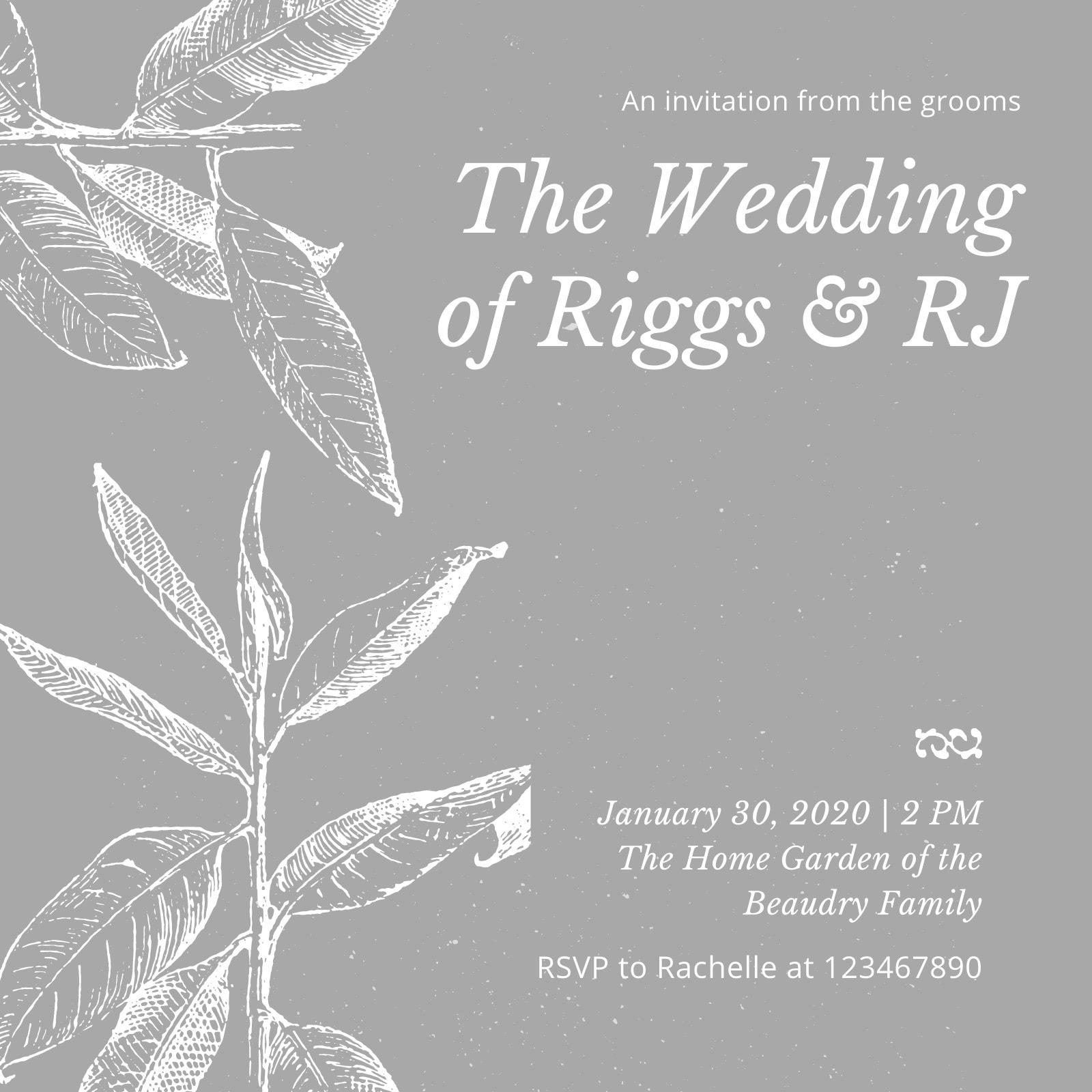 Gray Textured Gay Wedding Invitation