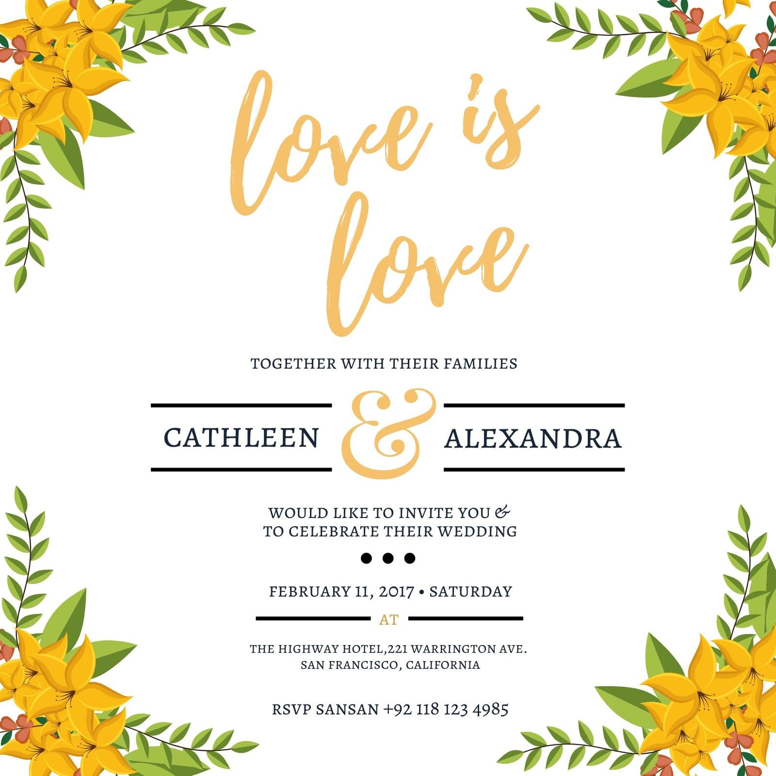 Floral Lesbian Wedding Invitation