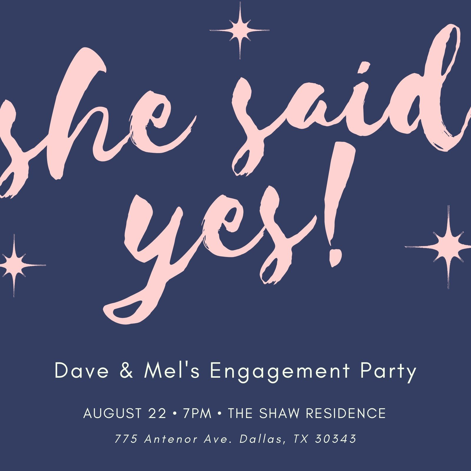 Navy Blue Pink Sparkle Engagement Party Invitation