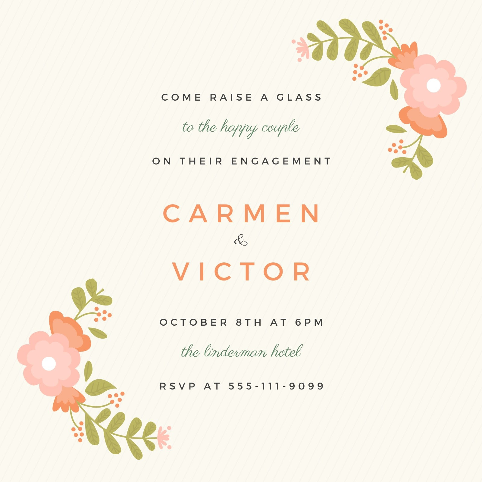 Cream Orange and Green Floral Engagement Party Invitation