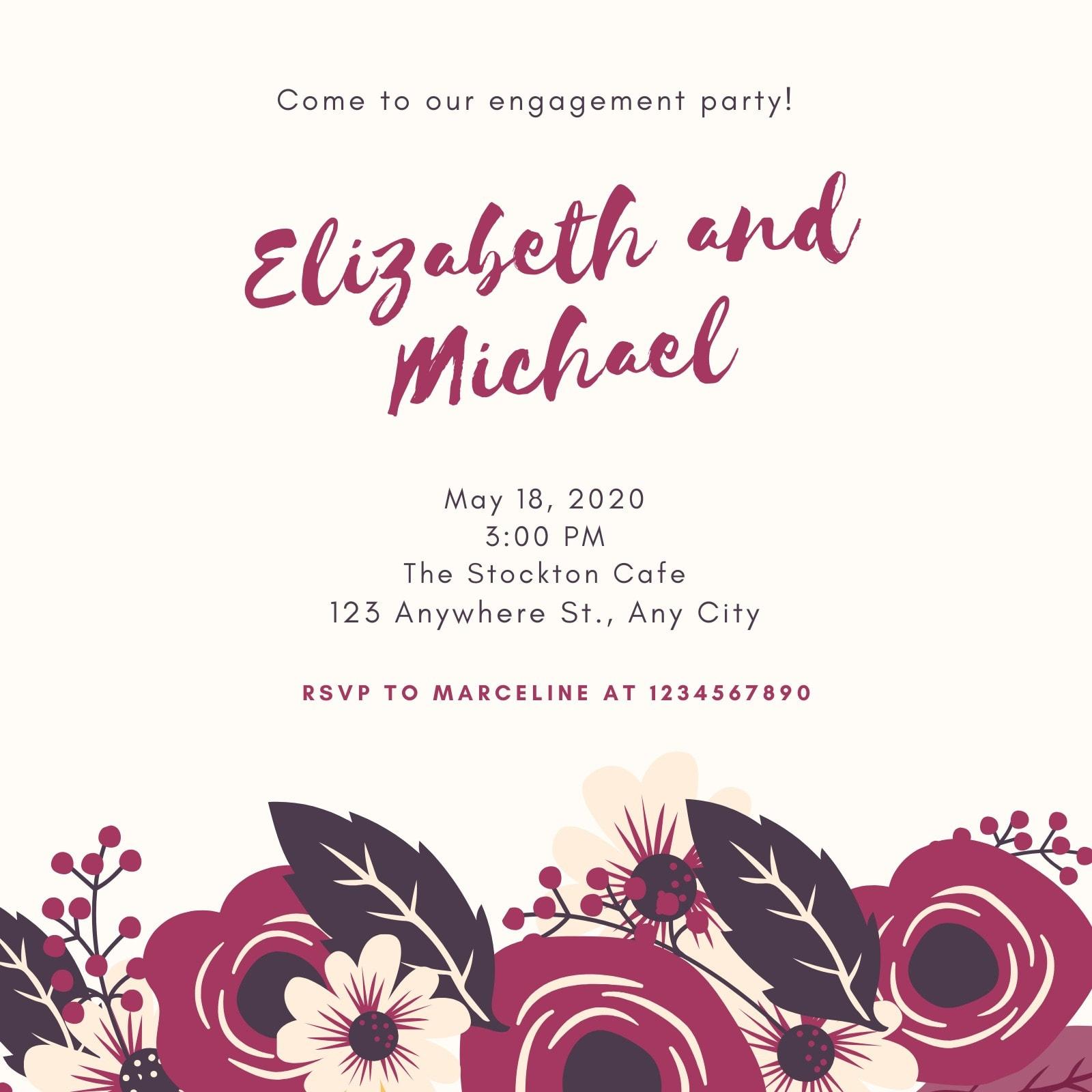 Plum Floral Engagement Party Invitation