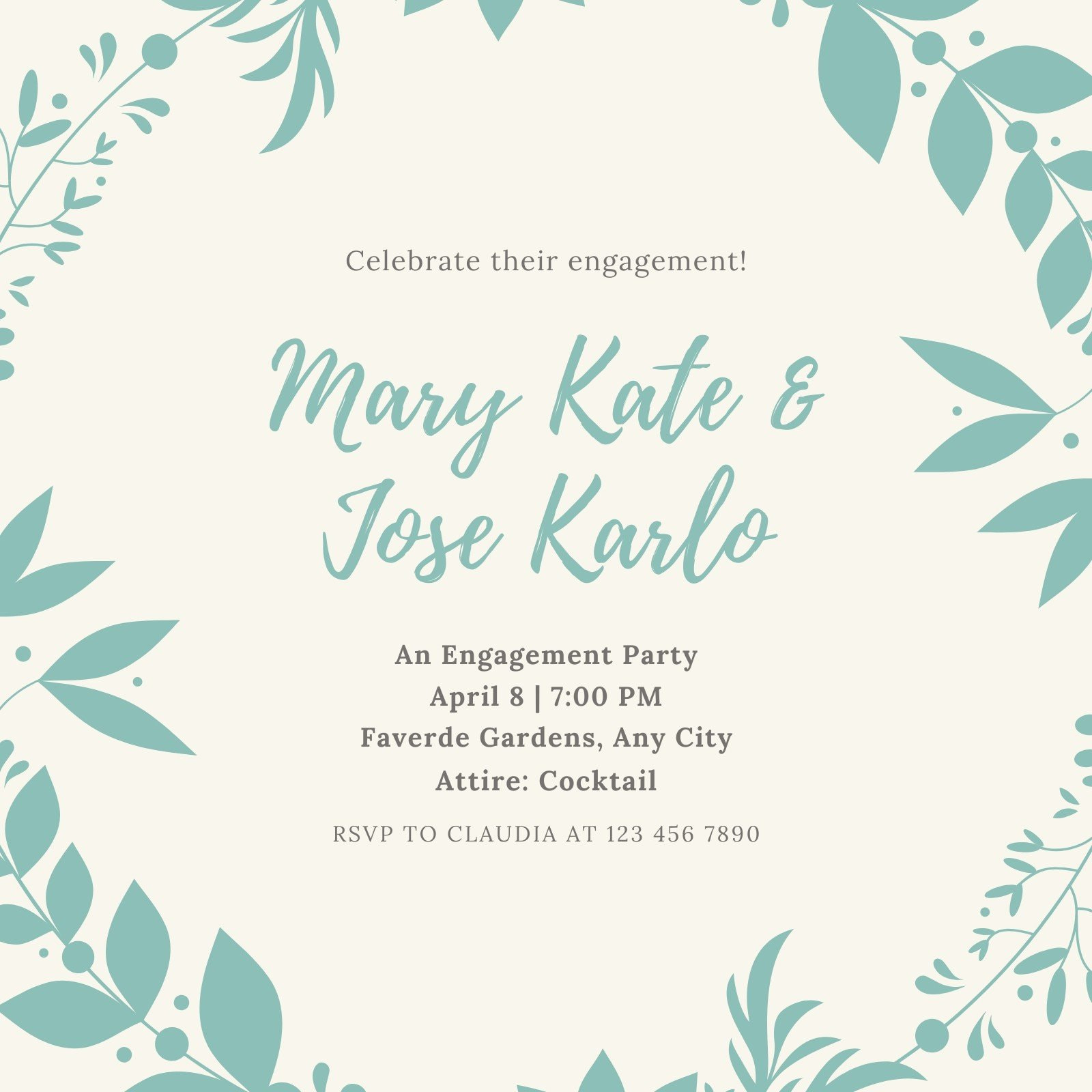 Mint Wreath Engagement Invitation