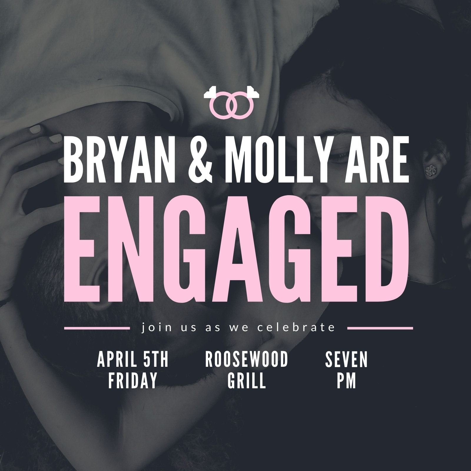 Engagement Photo Pink Party Invitation
