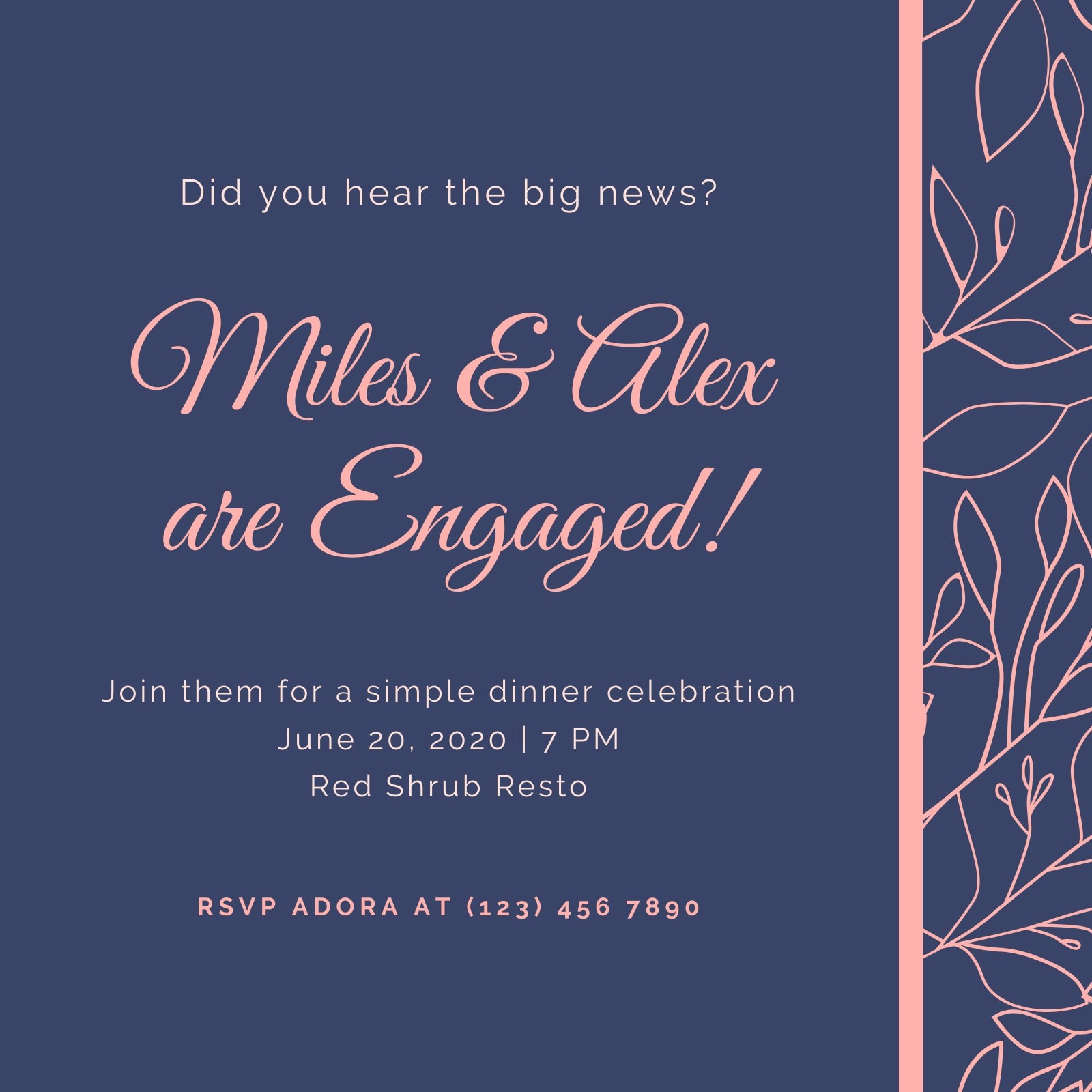 Navy Blue and Pink Pattern Engagement Invitation