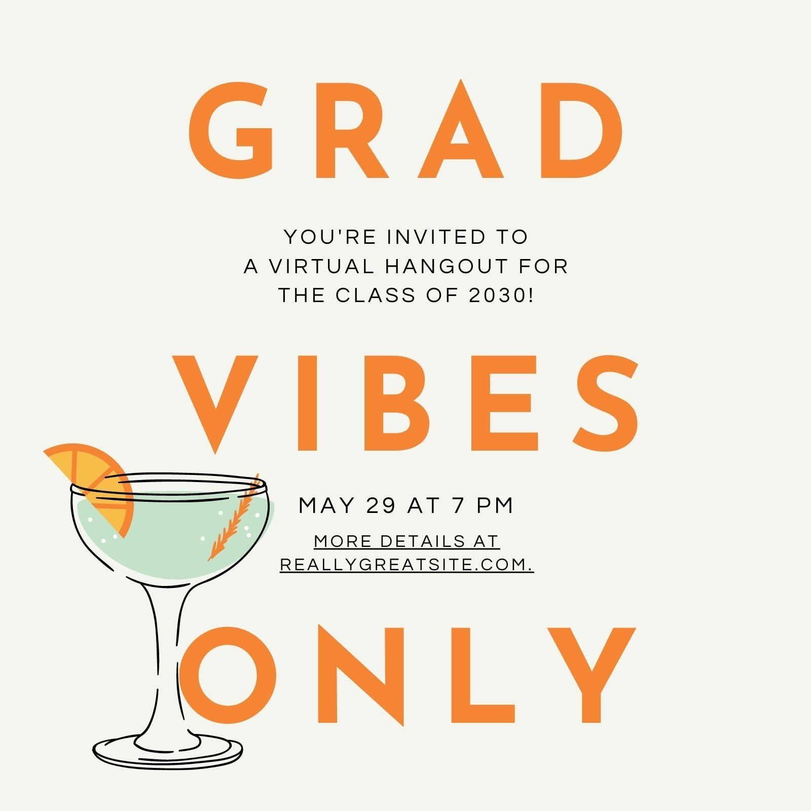 Beige and Orange Bold Cocktail Graduation Invitation