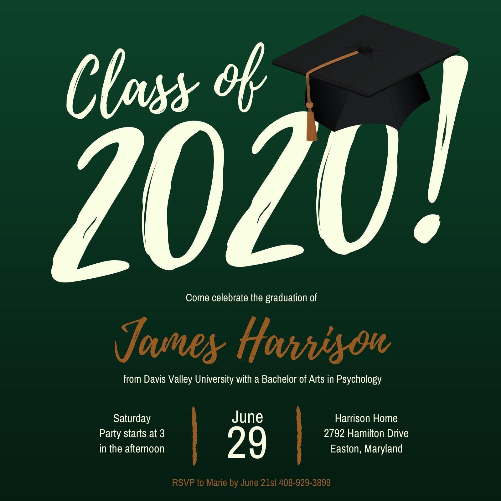 Green Typographic Graduation Party Invitation