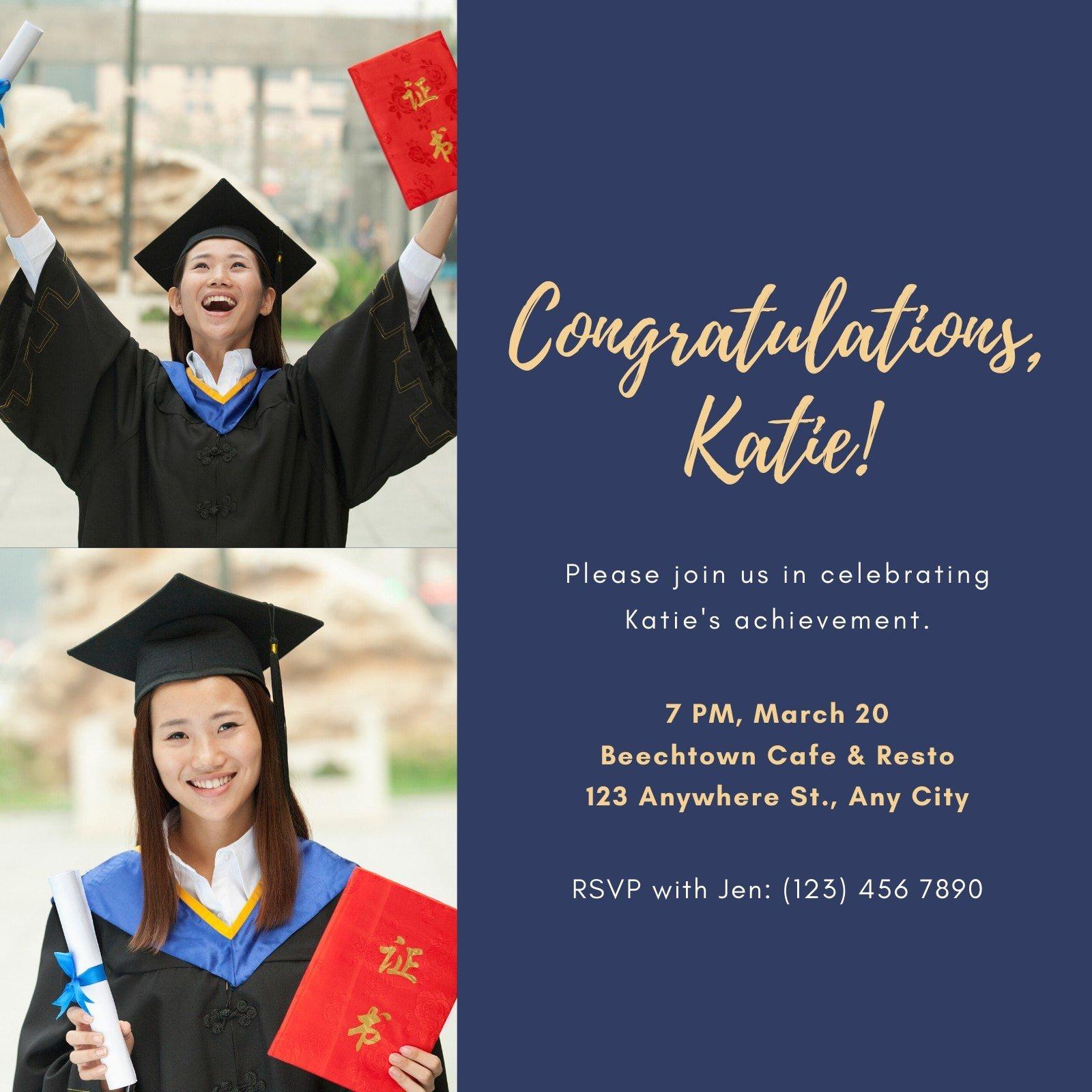 Blue and Yellow Lady Photo Graduation Invitation