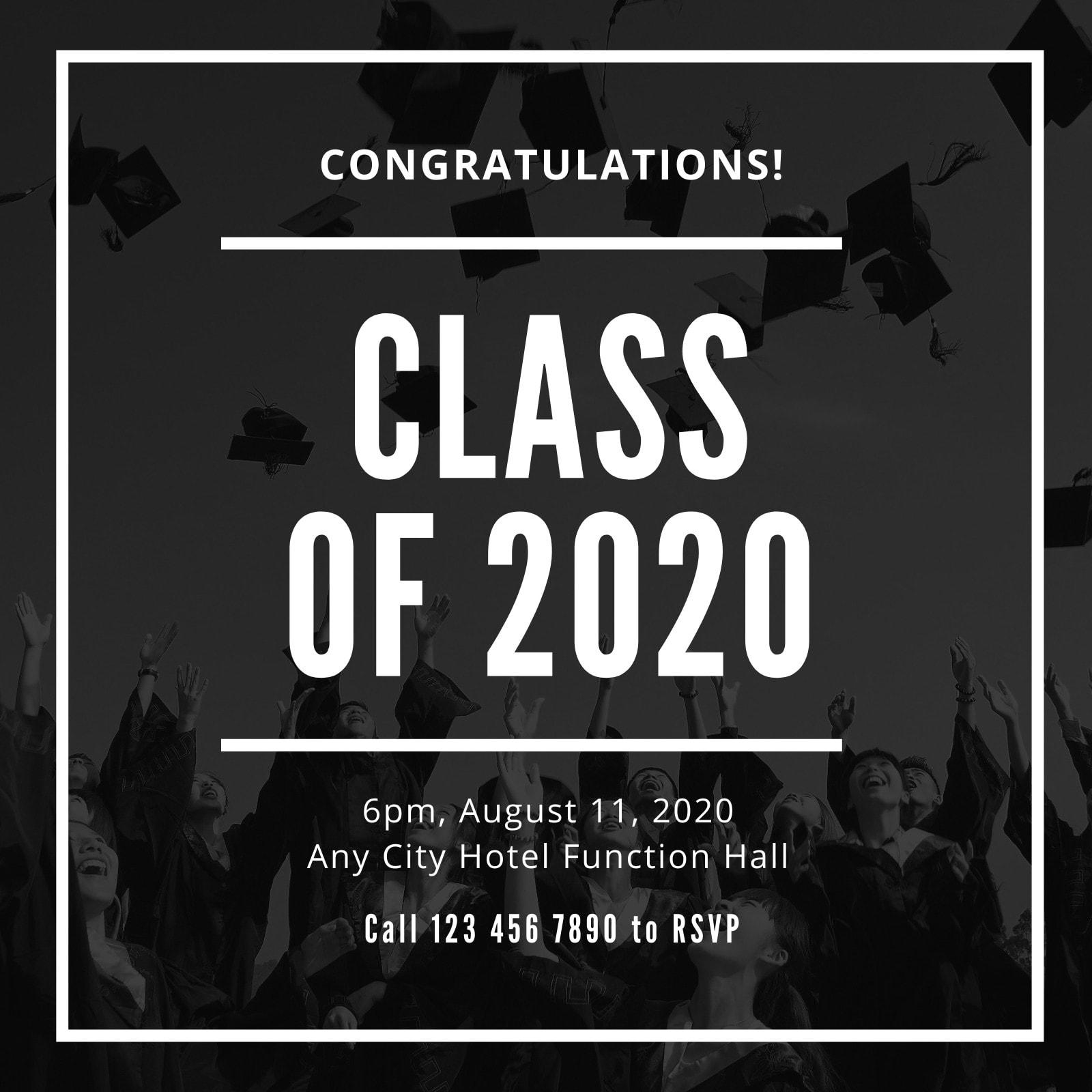 Black and White Bordered Simple Photo Graduation Invitation