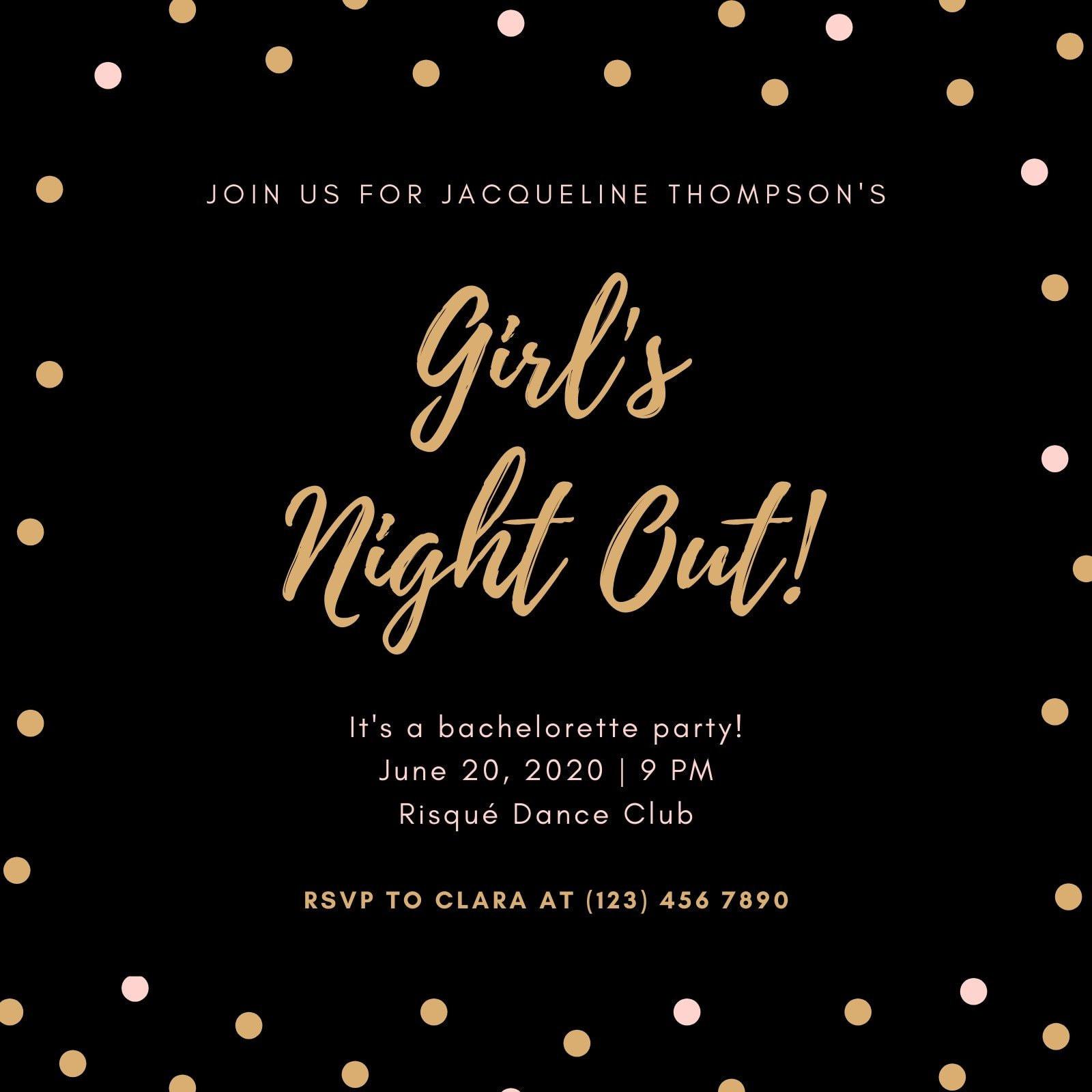 Black Drawn Dots Bachelorette Party Invitation