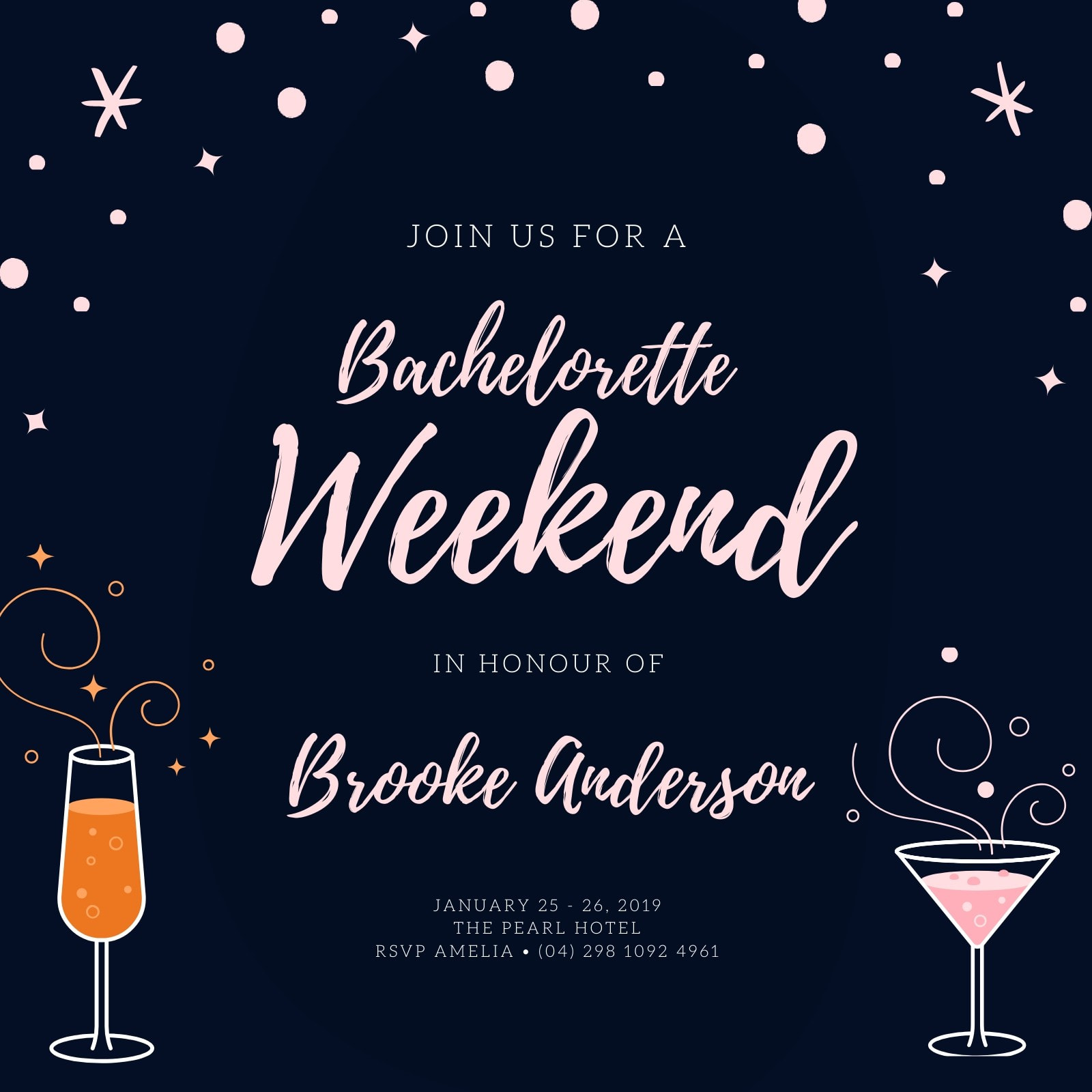Blue and Pink Cocktail Bachelorette Party Invitation