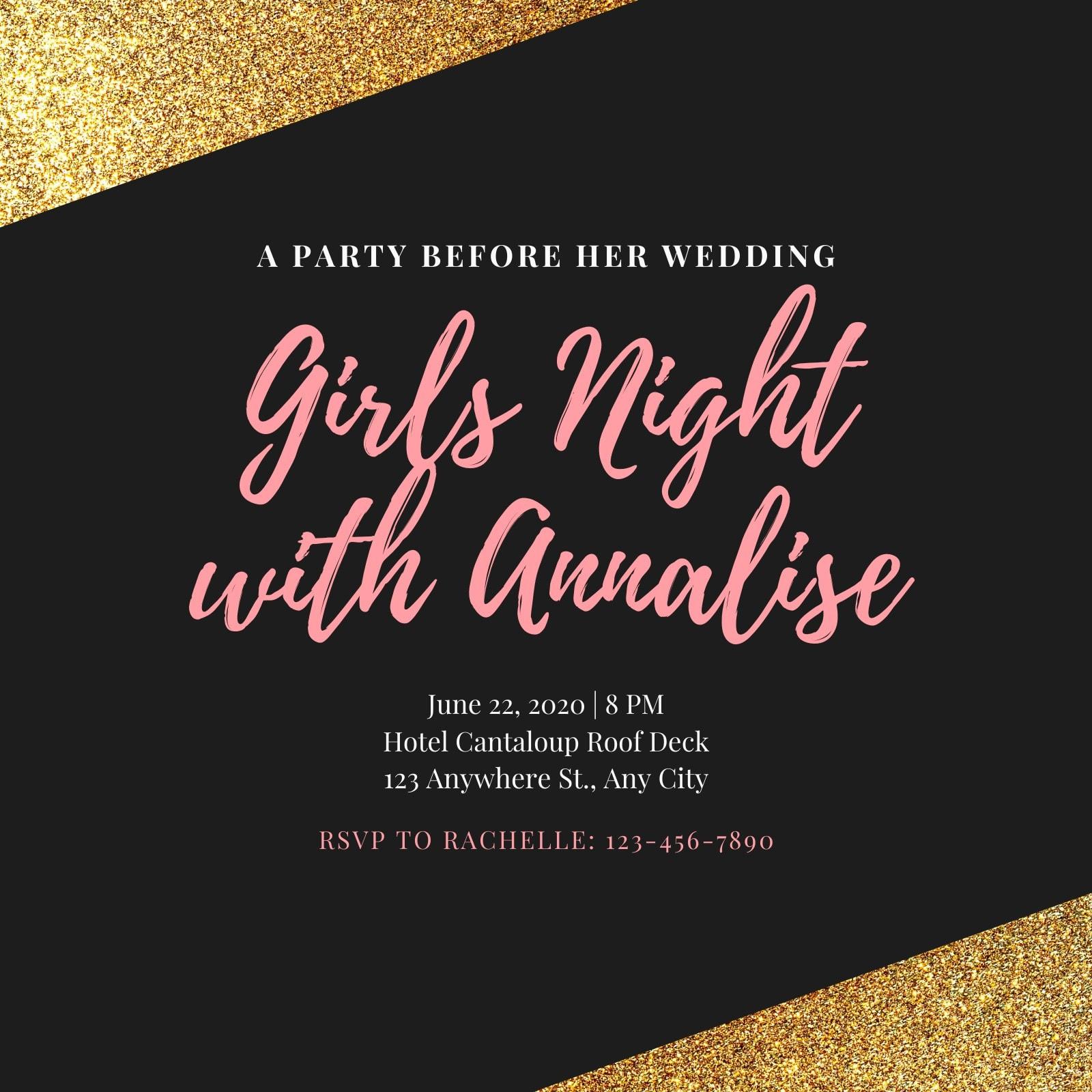 Pink and Black Bachelorette Party Glitter Invitation
