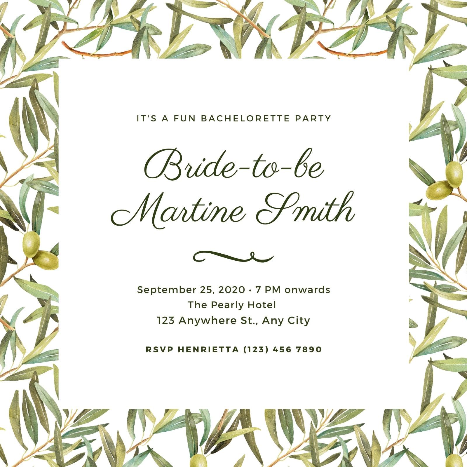 White and Green Foliage Bachelorette Invitation