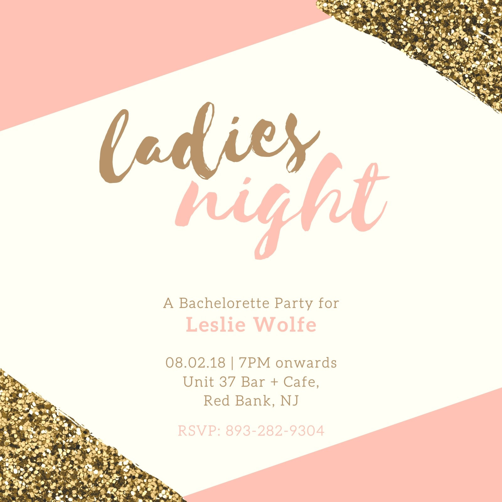 Pink Gold Bachelorette Party - Invitation