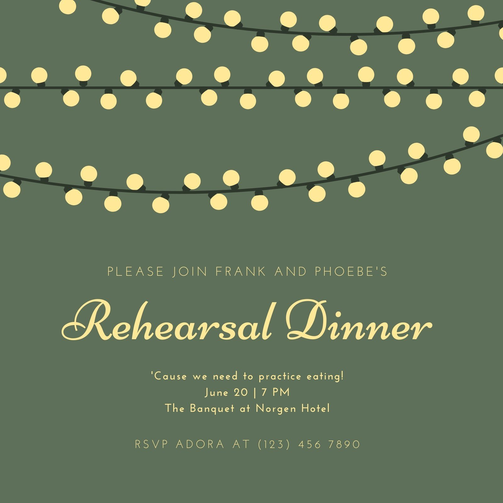 Green and Yellow Lights Rehearsal Dinner Invitation