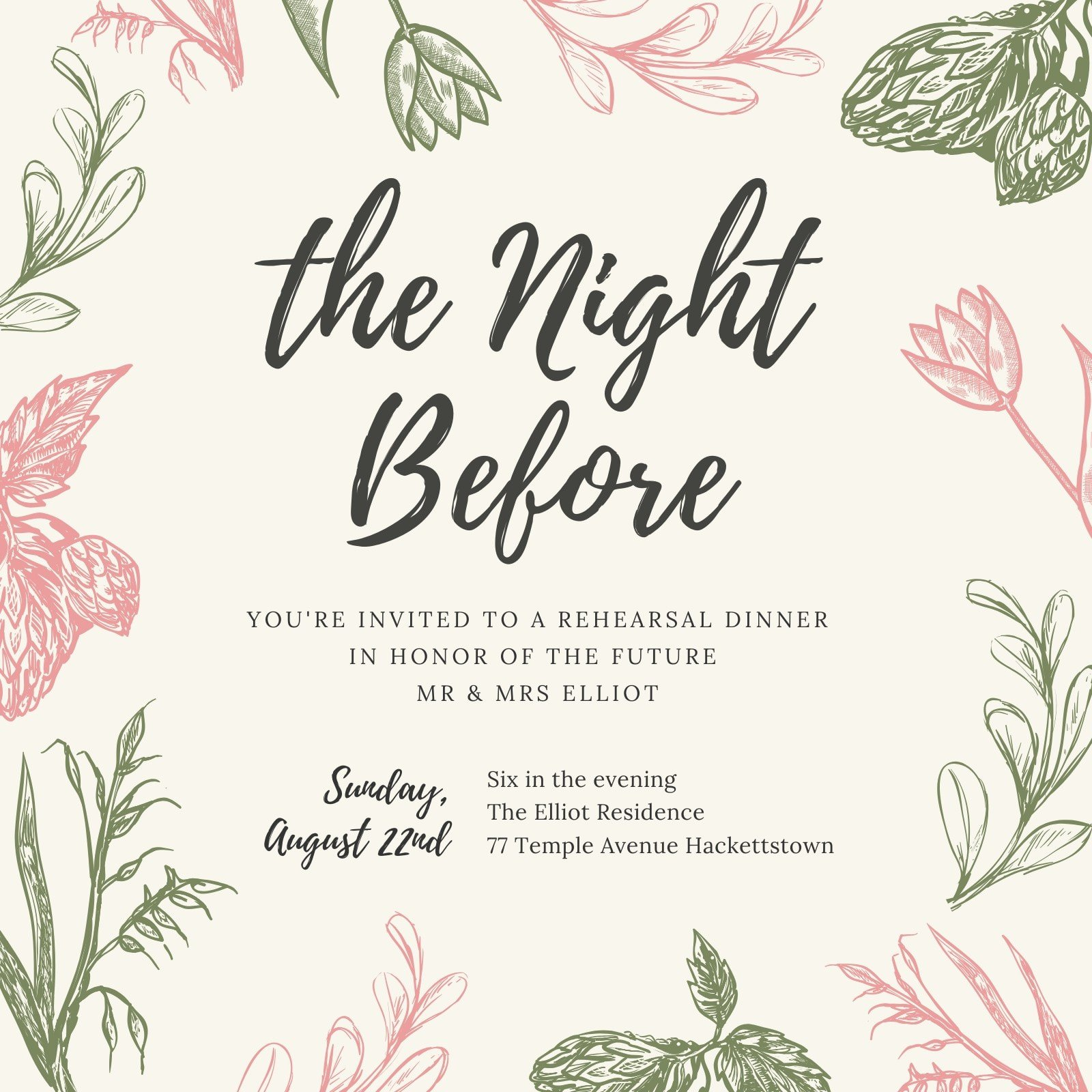 Green and Pink Floral Rehearsal Dinner Invitation