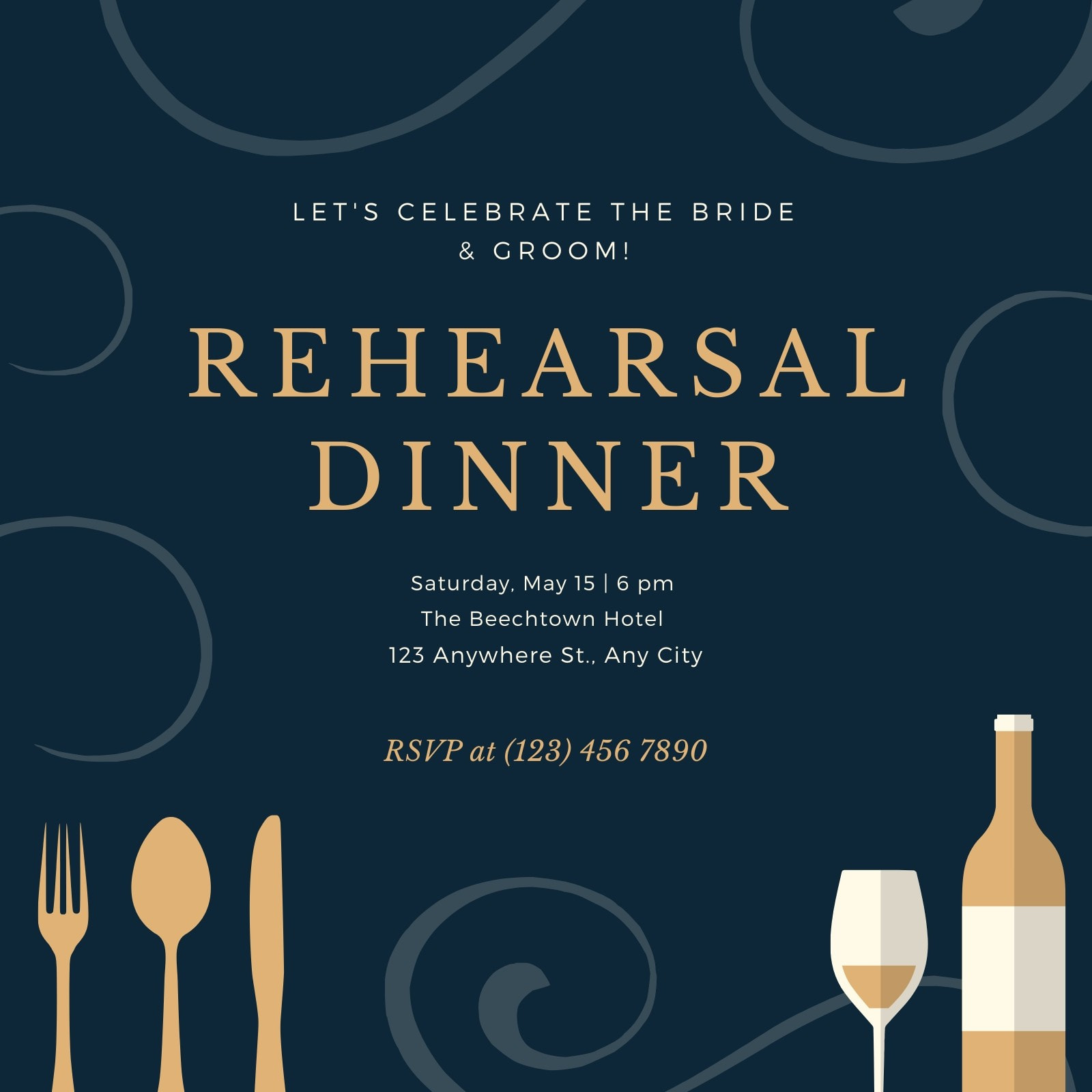 Gold and Blue Swirls Rehearsal Dinner Invitation