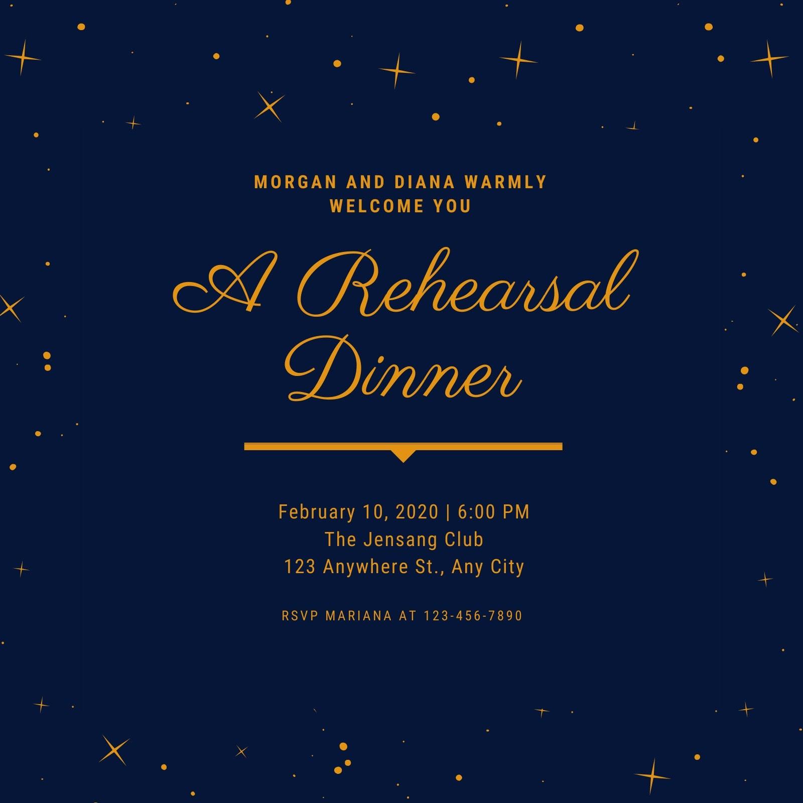 Blue Gold Stars Elegant Rehearsal Dinner Invitation