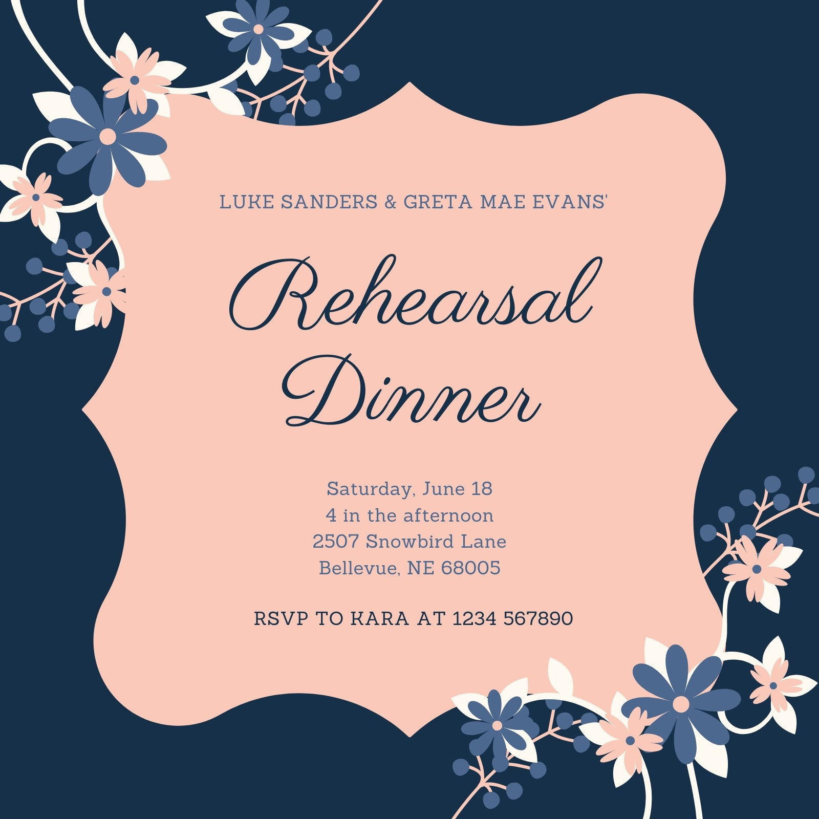 Pink and Blue Simple Rehearsal Dinner Invitation