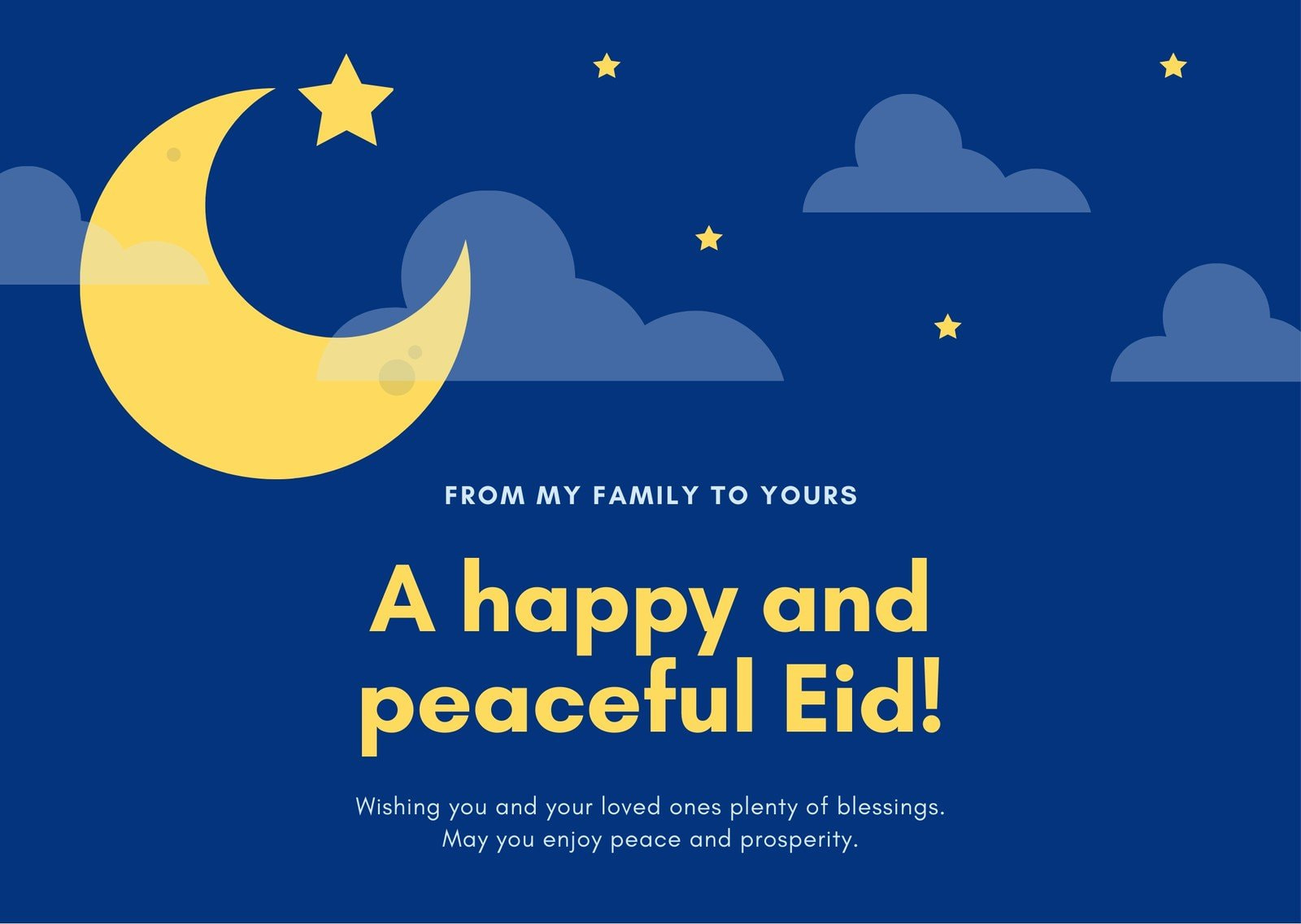Blue and Yellow Moon and Stars Eid al-Fitr Card