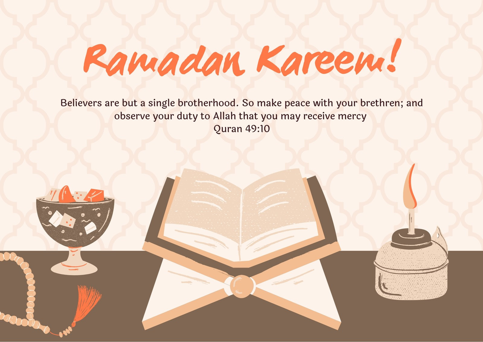 Khaki and Orange Quran Illustration Quote Eid al-Fitr Card