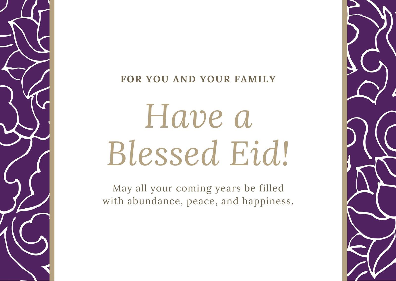 Violet White Floral Eid Al-Fitr Card